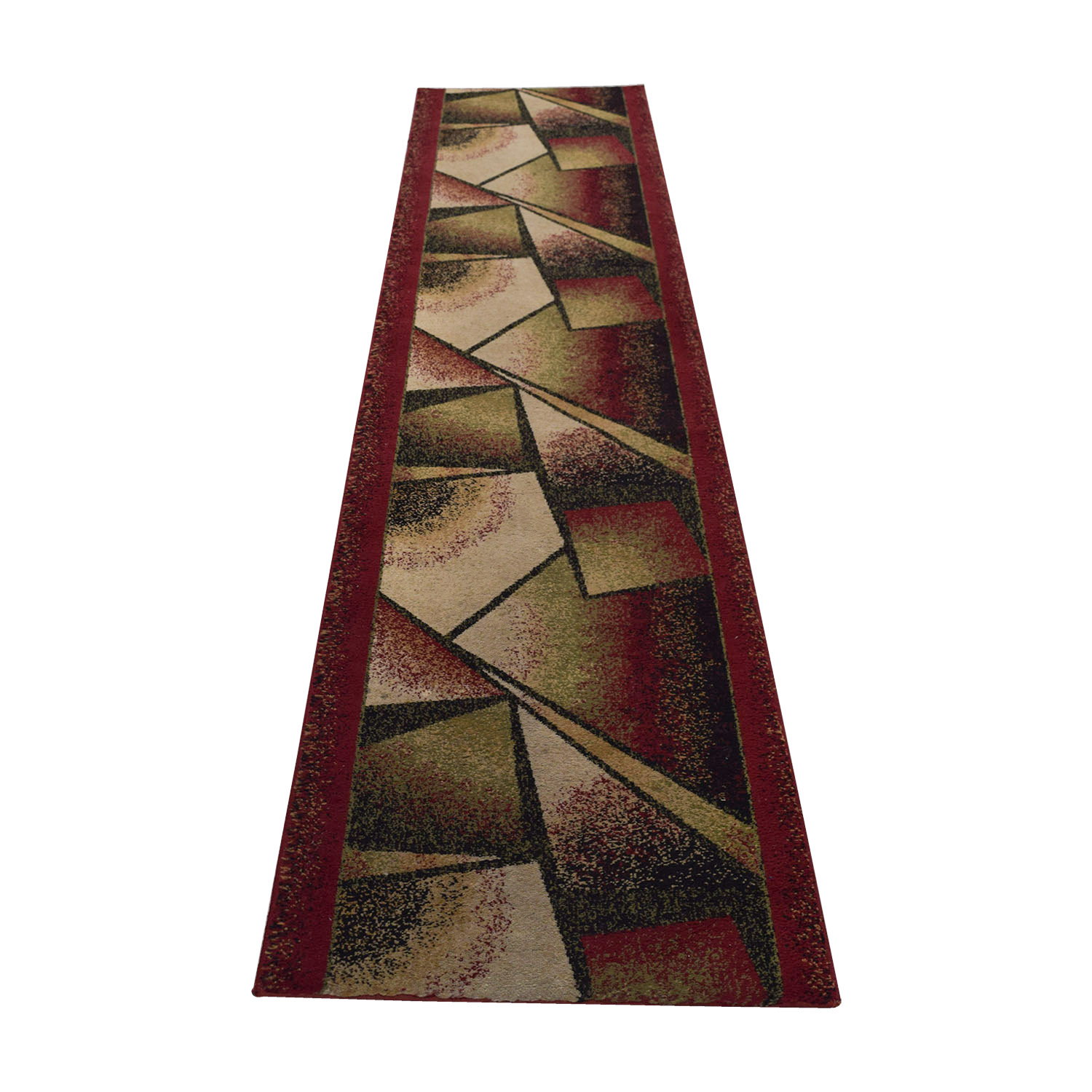 Burgundy Green and Black Runner Rug