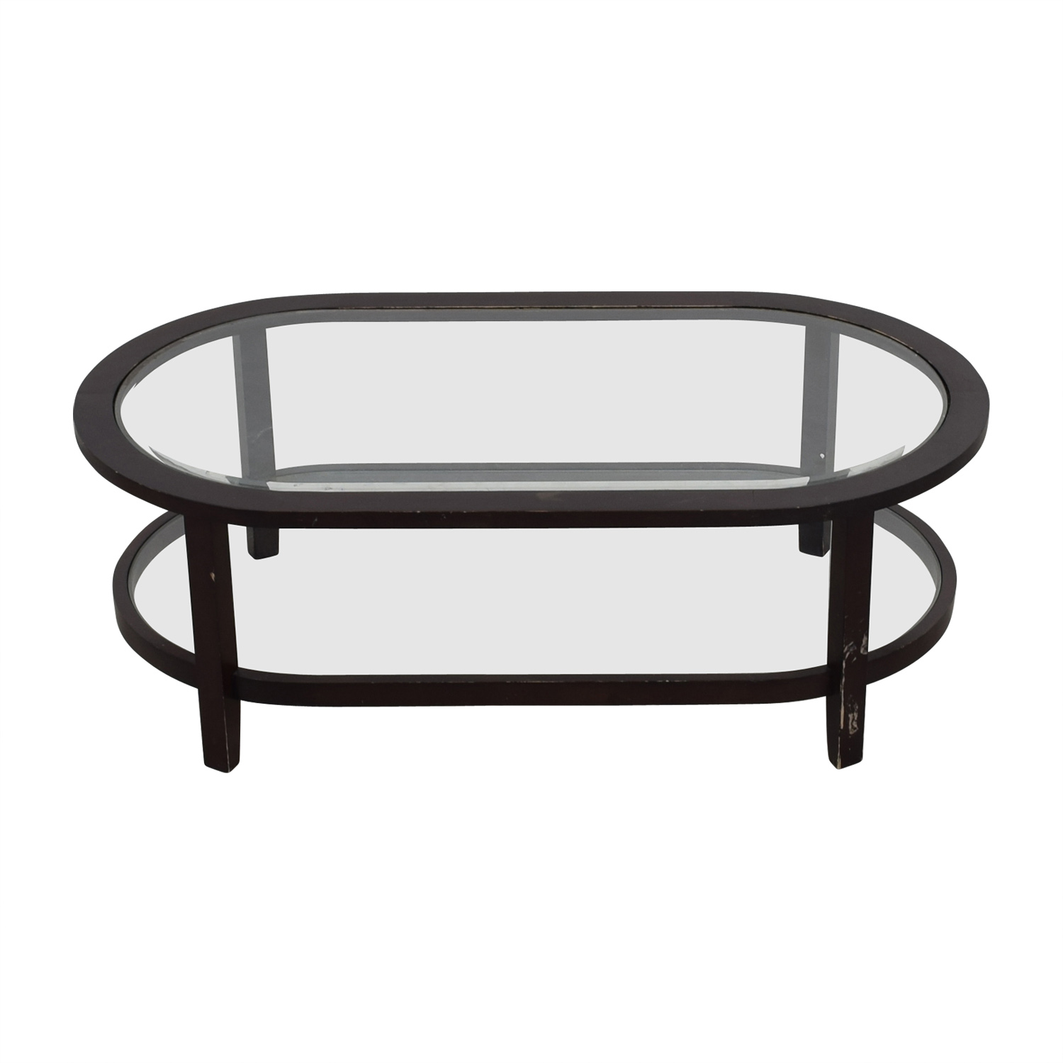 Crate & Barrel Crate & Barrel Oval Glass Coffee Table nj