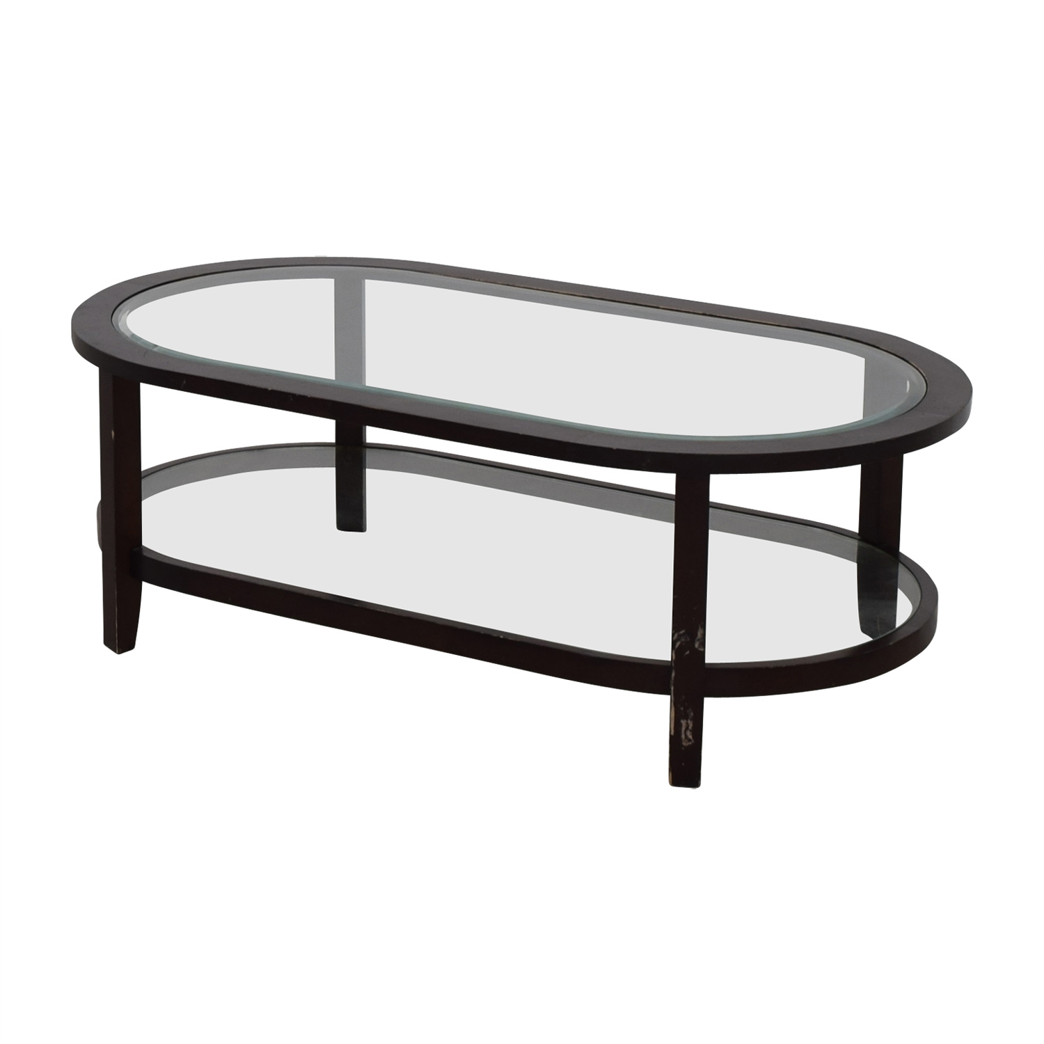 Crate & Barrel Oval Glass Coffee Table sale