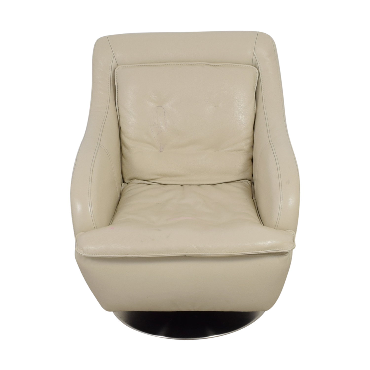 Raymour & Flanigan Raymour & Flanigan White Leather Accent Chair used