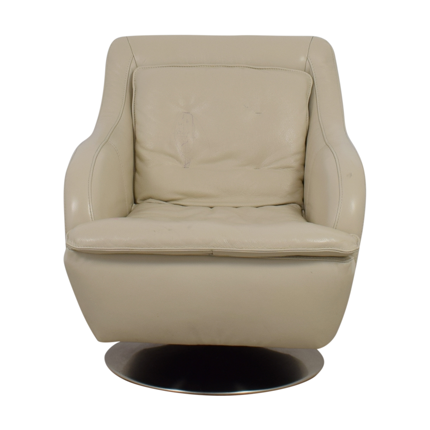 Raymour & Flanigan White Leather Accent Chair Raymour & Flanigan