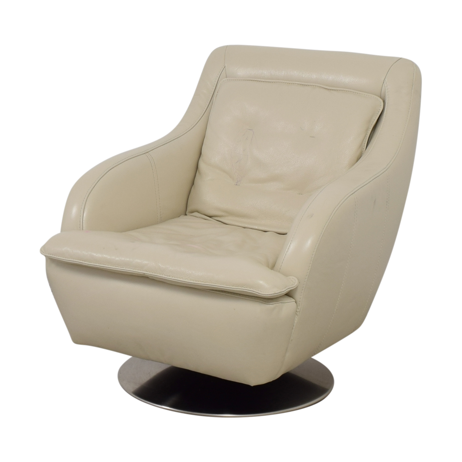 Raymour & Flanigan Raymour & Flanigan White Leather Accent Chair on sale
