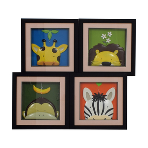 Yuko Lau Peek-A-Boo Framed Jungle Animals nj