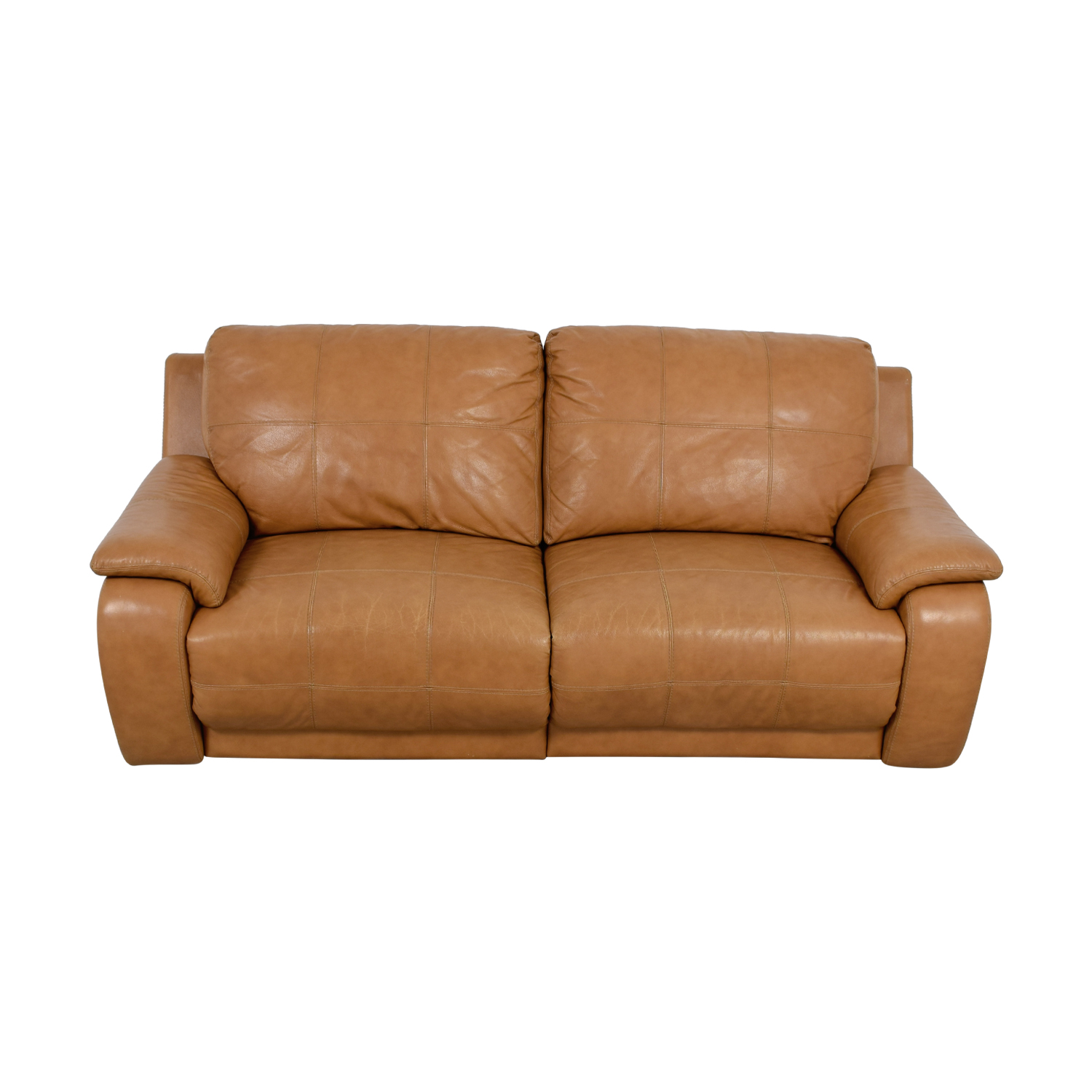 buy Raymour & Flanigan Power Recliner Brown Leather Sofa Raymour & Flanigan
