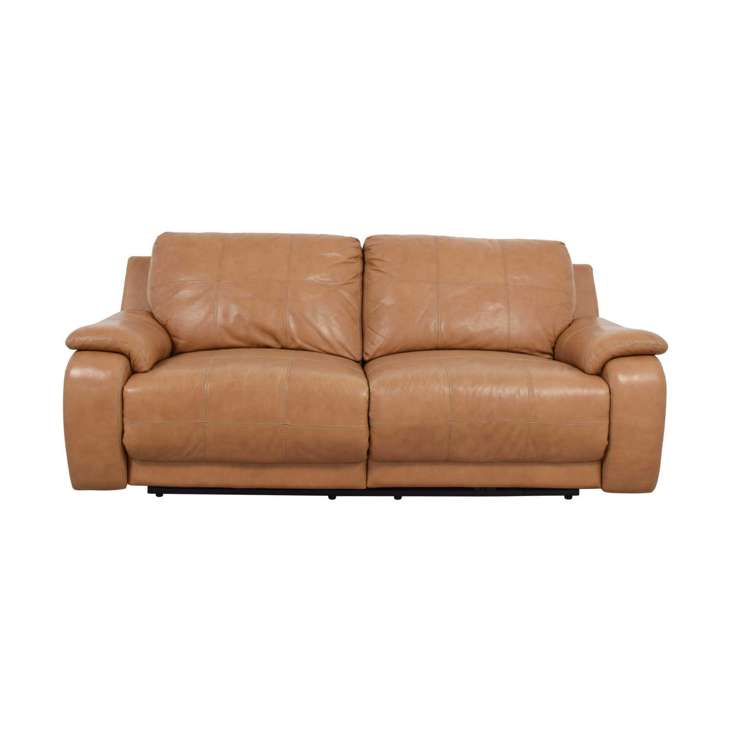 Raymour & Flanigan Raymour & Flanigan Power Recliner Brown Leather Sofa price