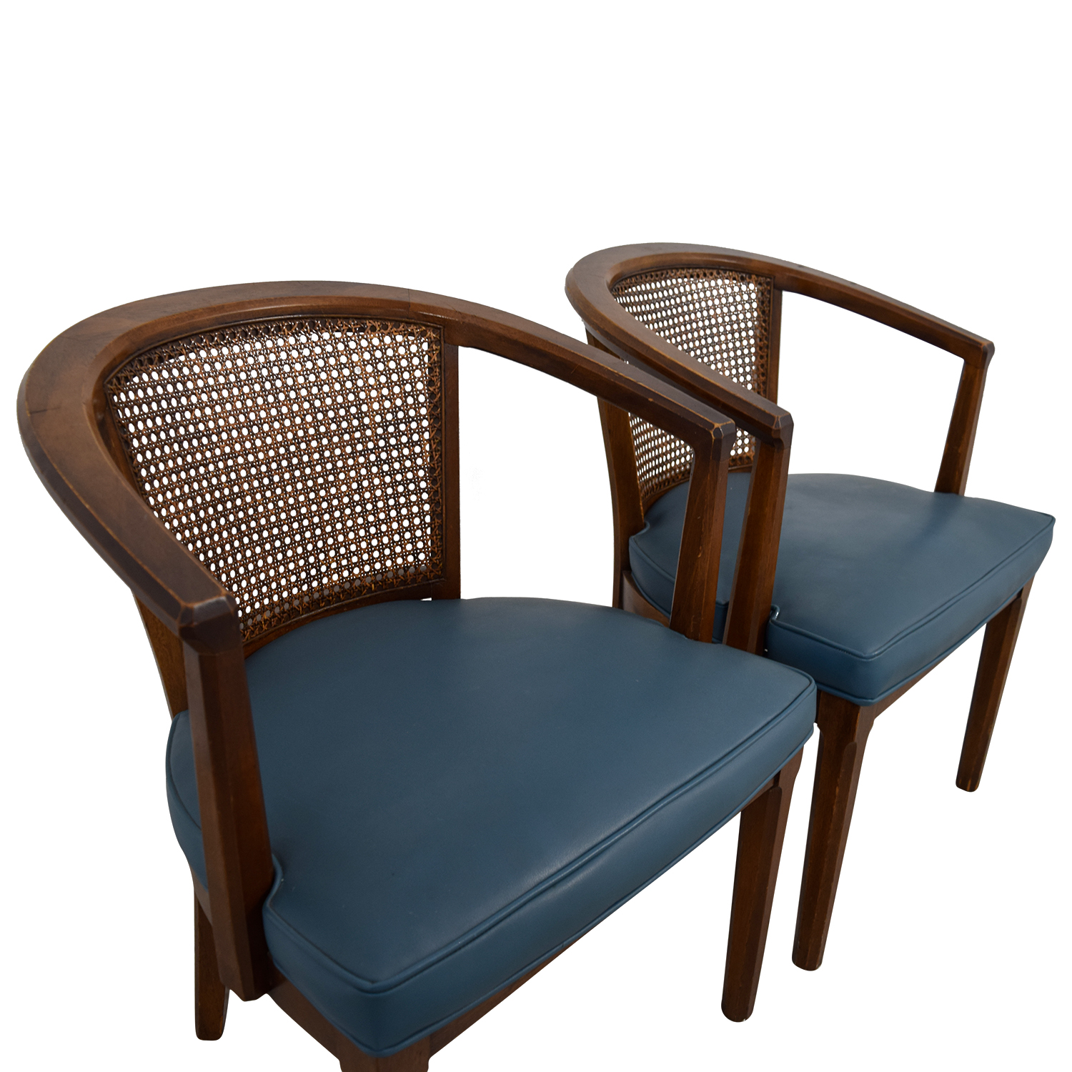 76 Off Vintage Mid Century Cane Navy Barrel Chair Chairs