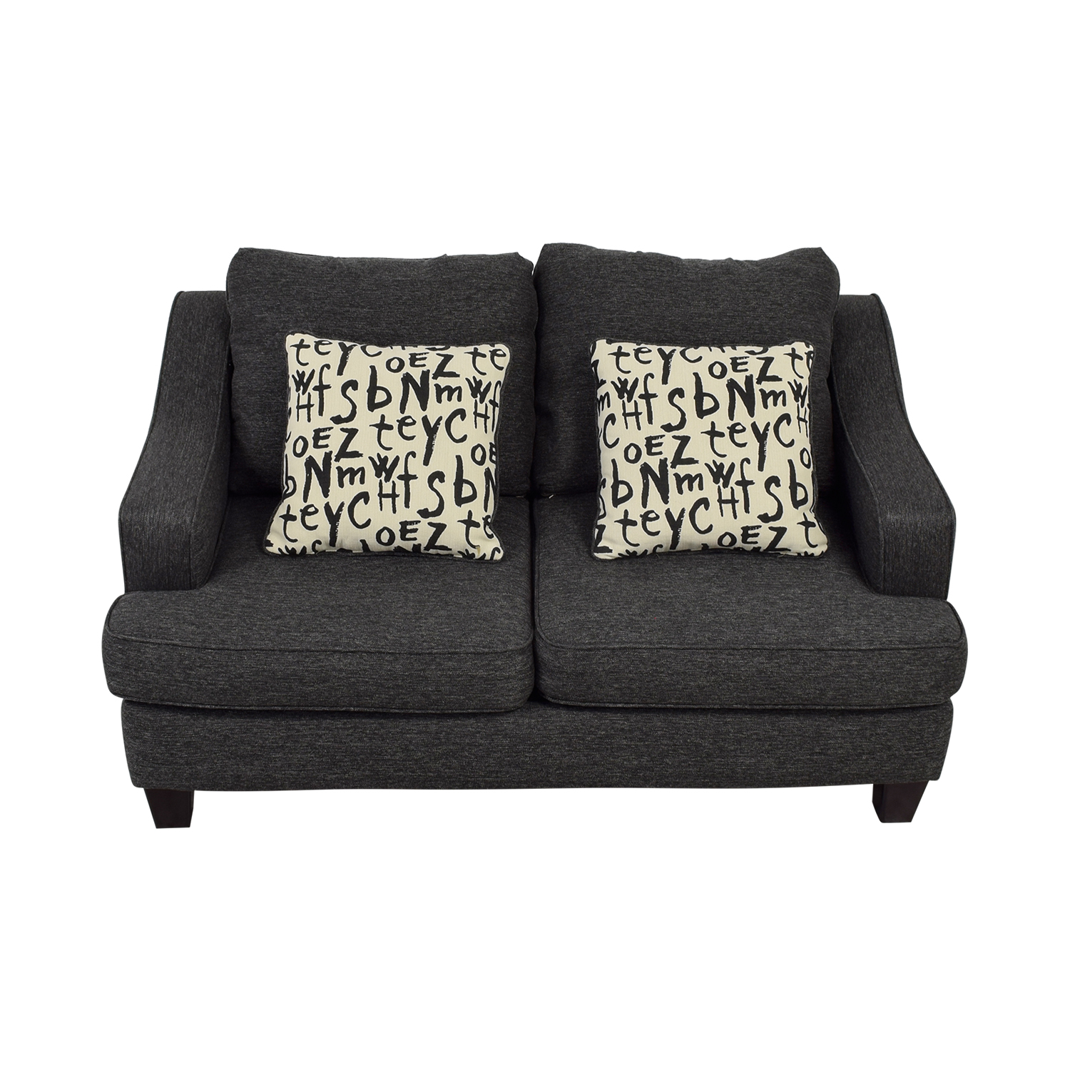 Raymour & Flanigan Raymour & Flanigan Union Square Charcoal Loveseat for sale