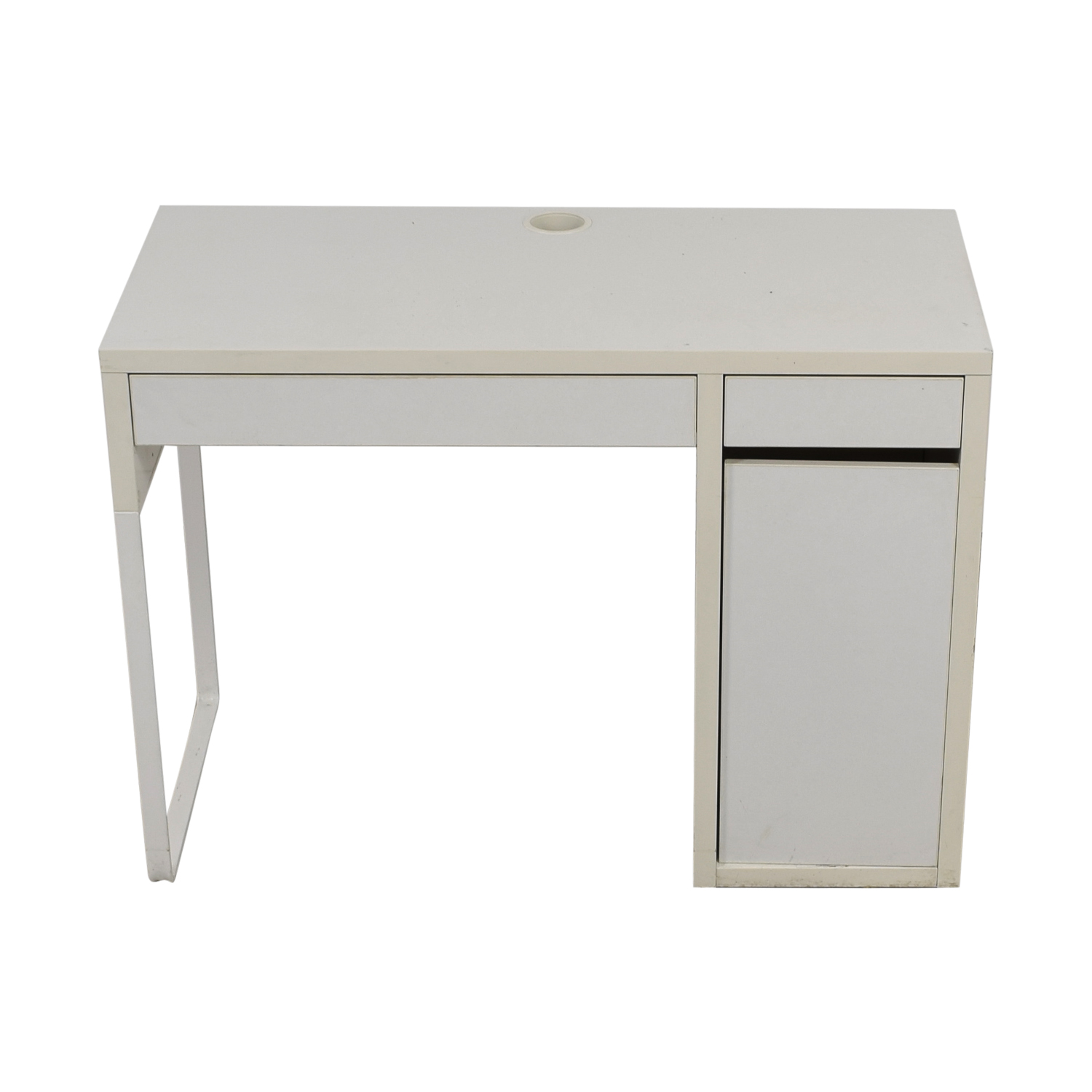 Two-Drawer White Desk with High Rover and Printer Storage discount