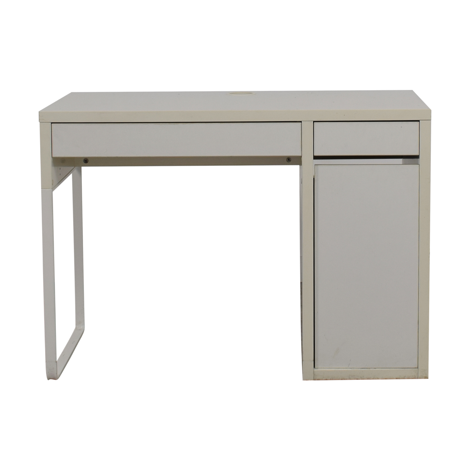 Two-Drawer White Desk with High Rover and Printer Storage dimensions