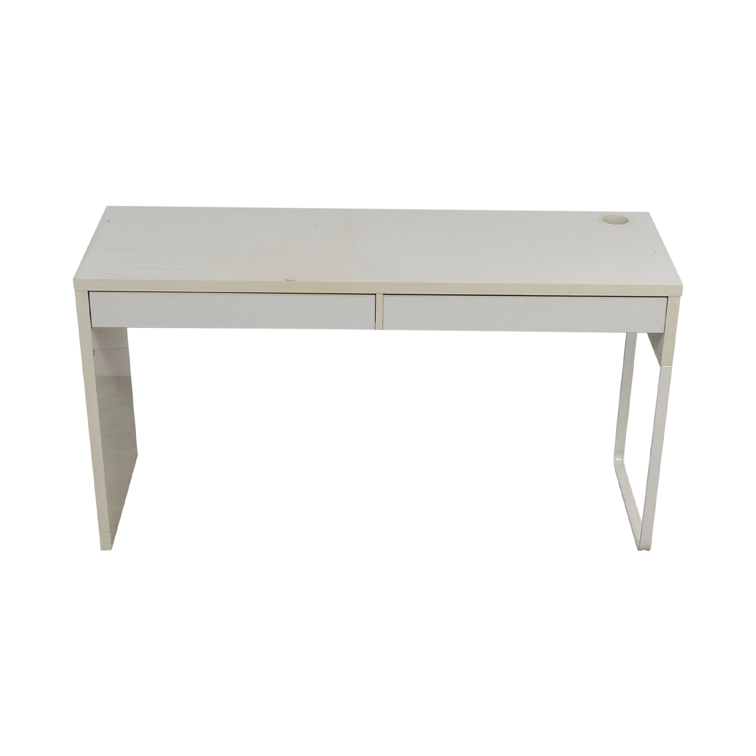 Long White Two-Drawer Desk dimensions