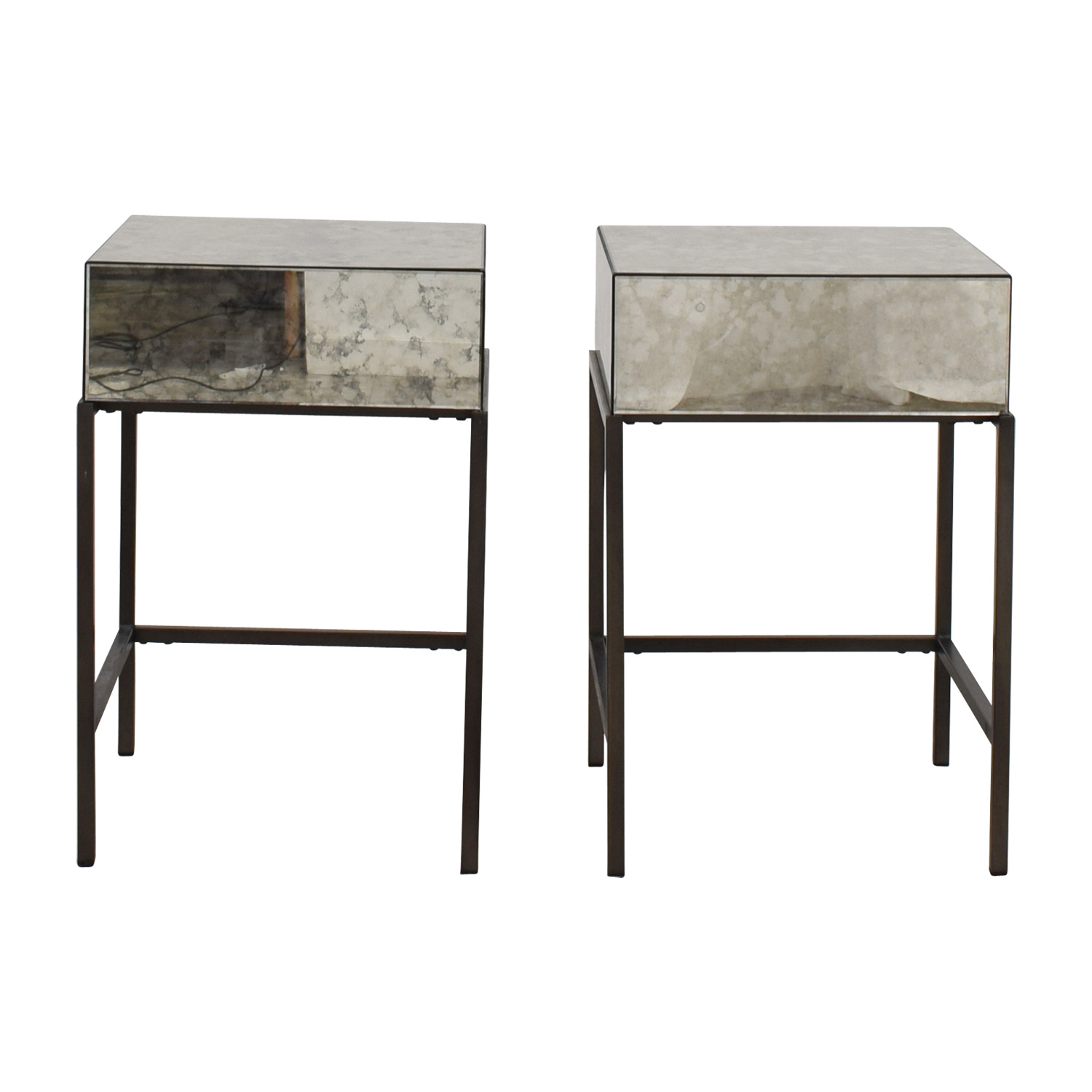 West Elm Foxed Mirror Single Drawer Nightstands
