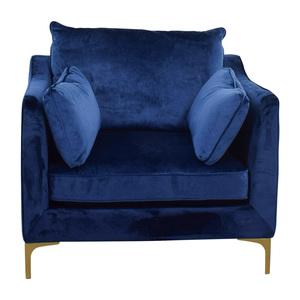 Interior Define Velvet Oxford Blue Accent Chair coupon