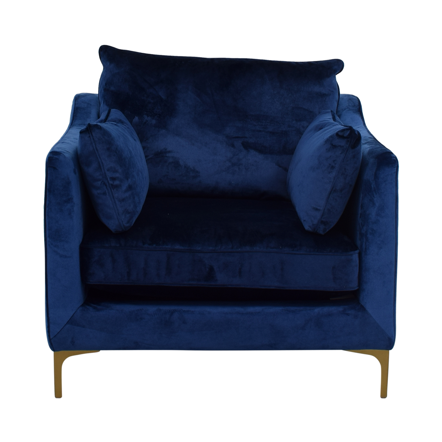 buy Mod Velvet Oxford Blue Accent Chair Accent Chairs