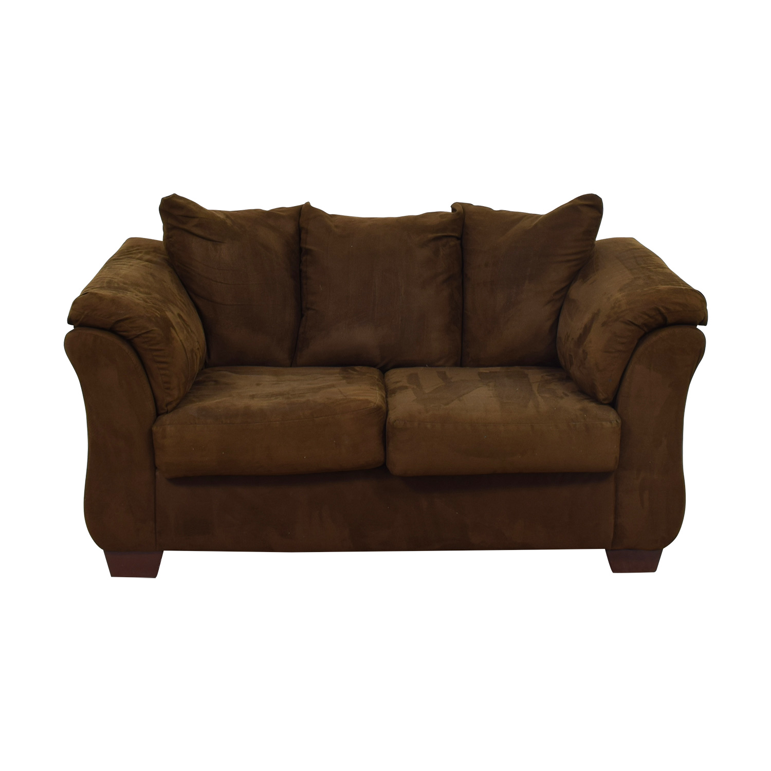 Ashley Furniture Ashley Furniture Two- Cushion Brown Loveseat discount