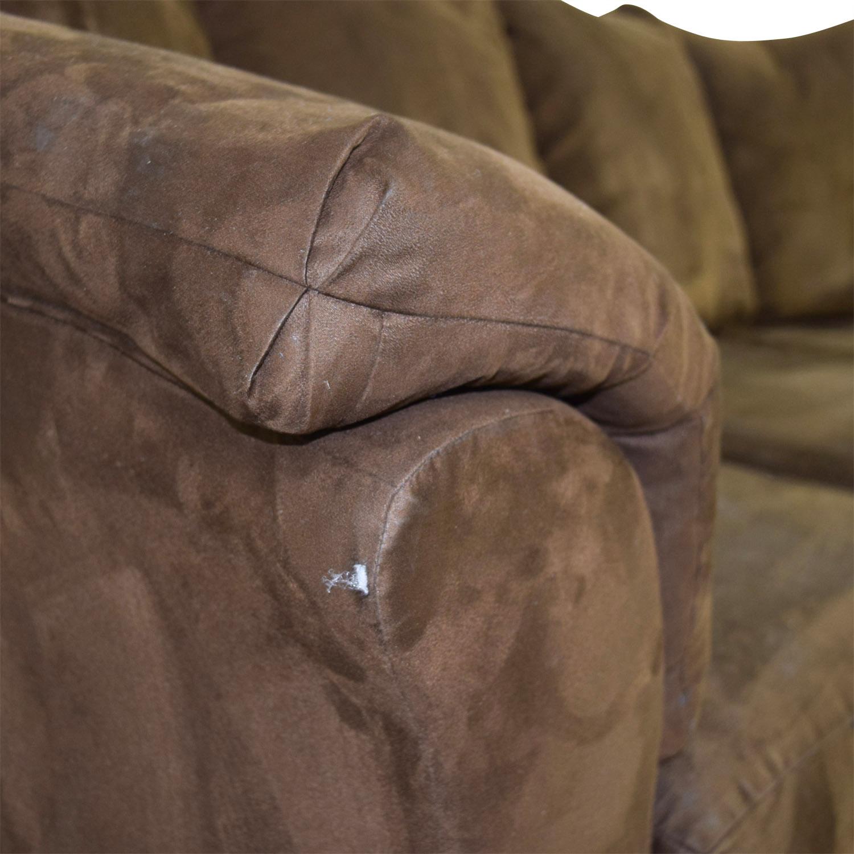 shop Ashley Furniture Three-Cushion Brown Couch Ashley Furniture Classic Sofas