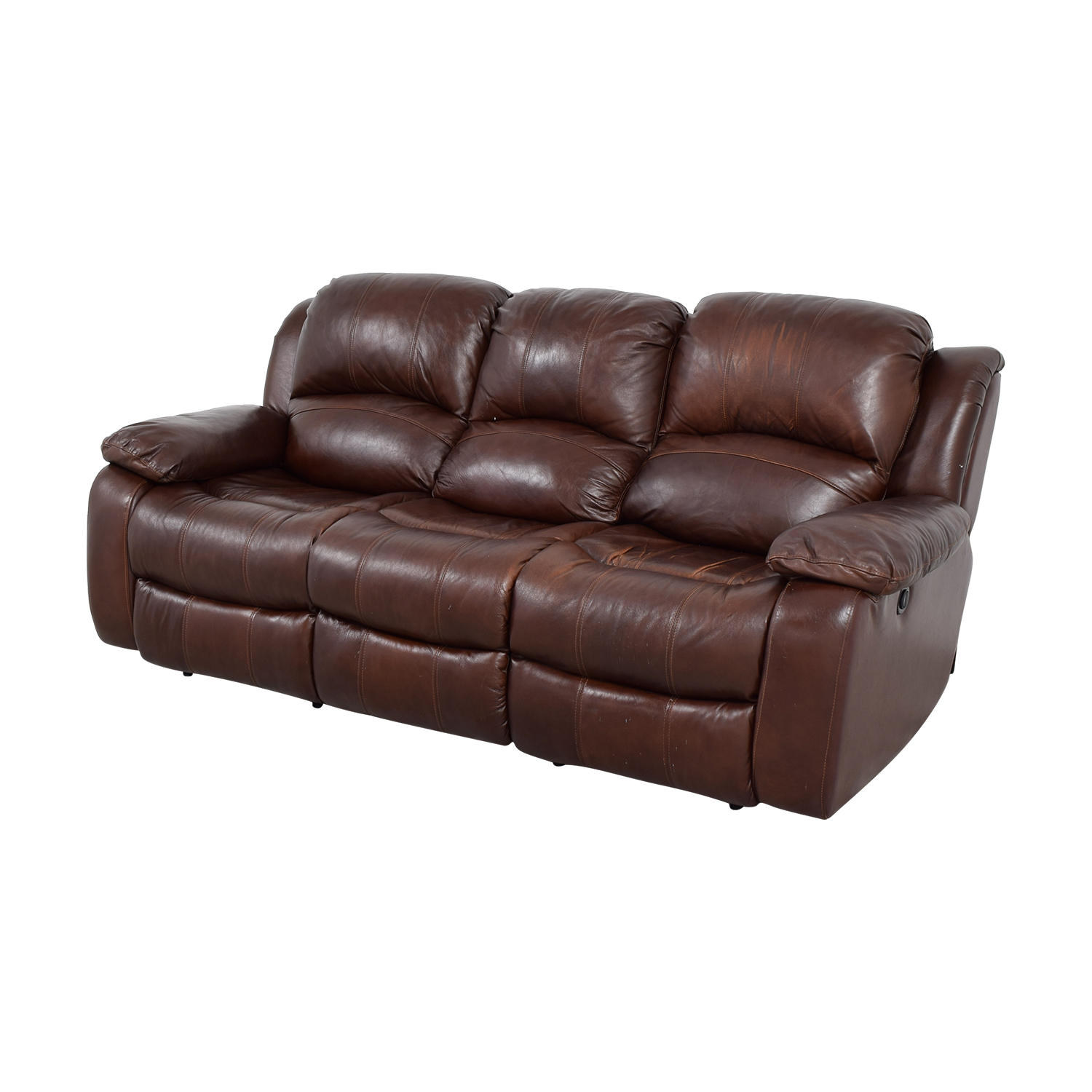 86 off raymour and flanigan raymour and flanigan brown leather reclining sofa chairs. Black Bedroom Furniture Sets. Home Design Ideas