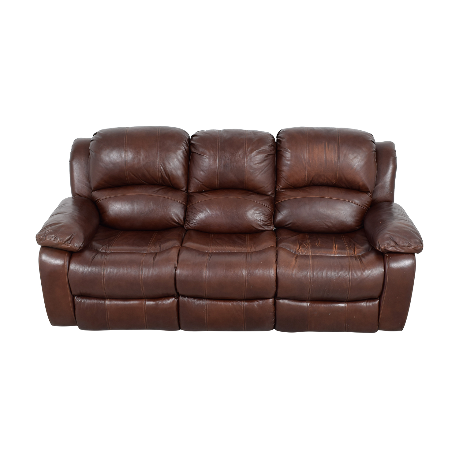 Raymour and Flanigan Raymour and Flanigan Brown Leather Reclining Sofa price