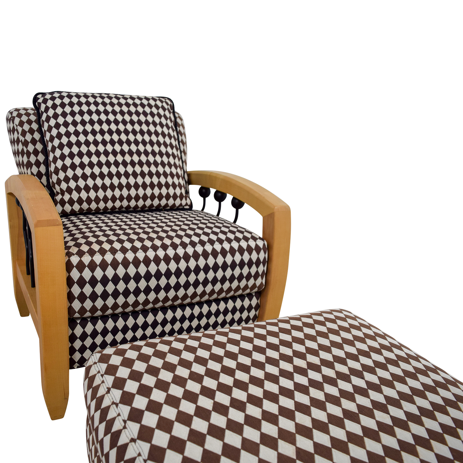 Peachy 73 Off Thayer Coggin Thayer Coggin Cherry Wood Black And White Checkered Accent Chair With Ottoman Chairs Theyellowbook Wood Chair Design Ideas Theyellowbookinfo
