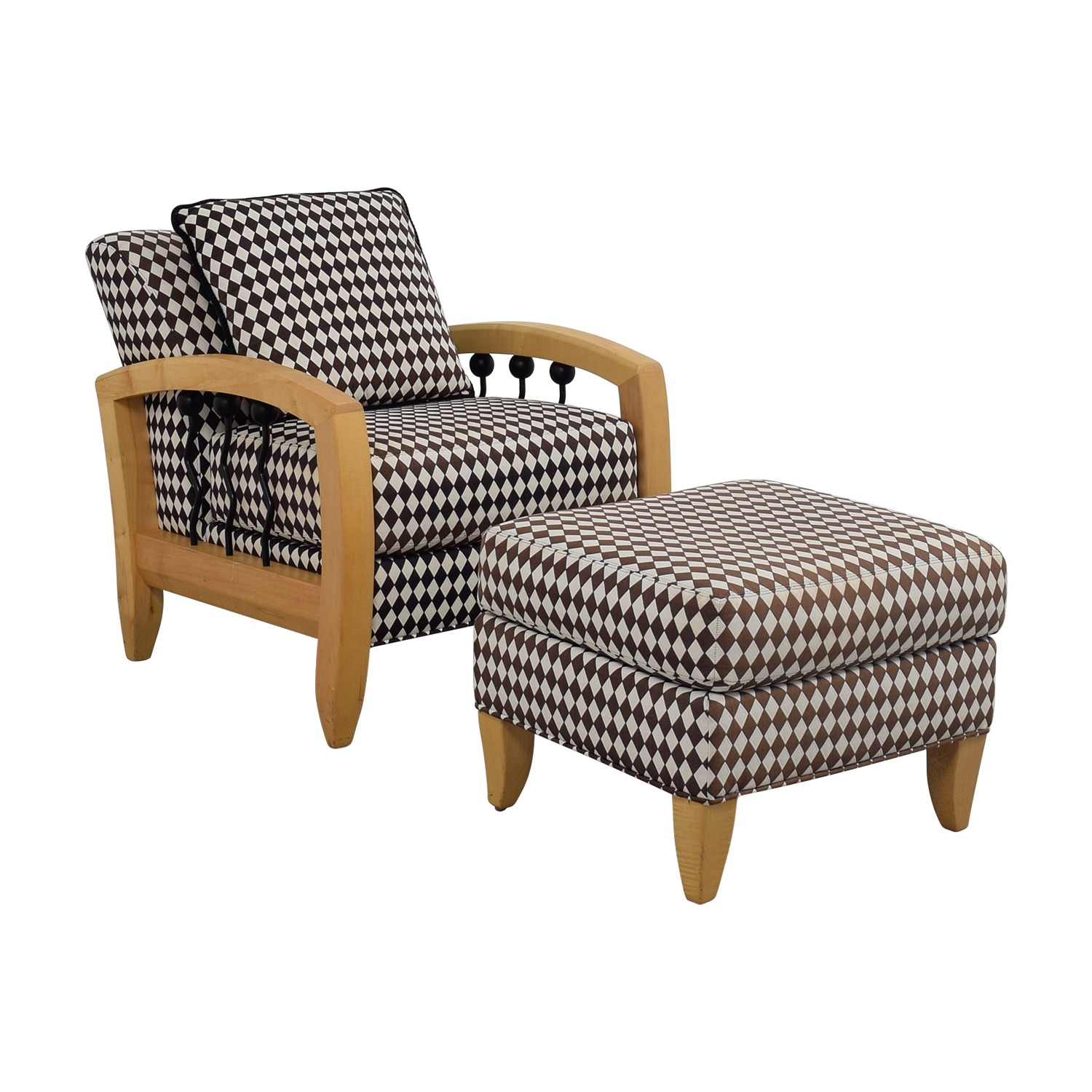 Enjoyable 73 Off Thayer Coggin Thayer Coggin Cherry Wood Black And White Checkered Accent Chair With Ottoman Chairs Theyellowbook Wood Chair Design Ideas Theyellowbookinfo