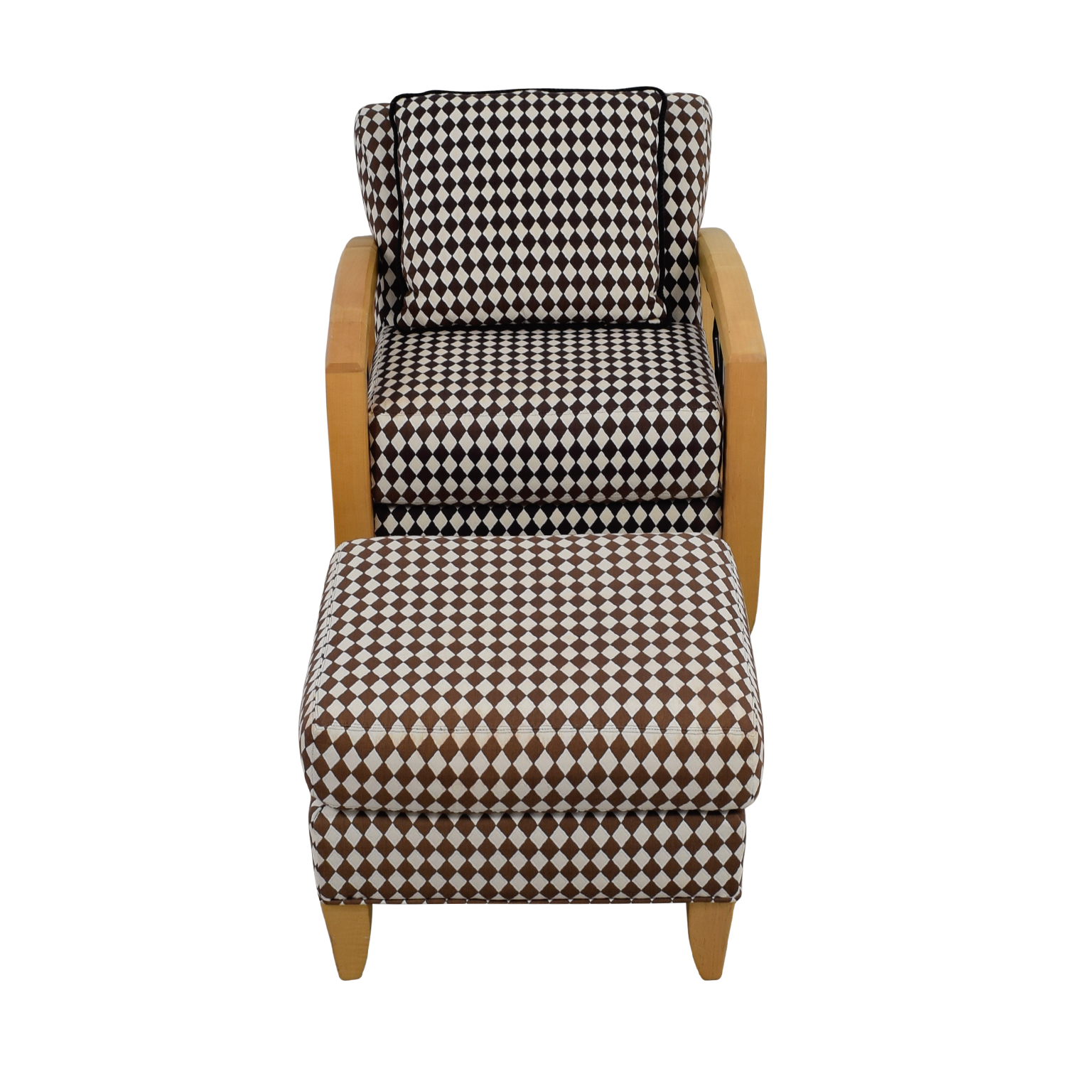 Thayer Coggin Thayer Coggin Cherry Wood Black and White Checkered Accent Chair with Ottoman for sale
