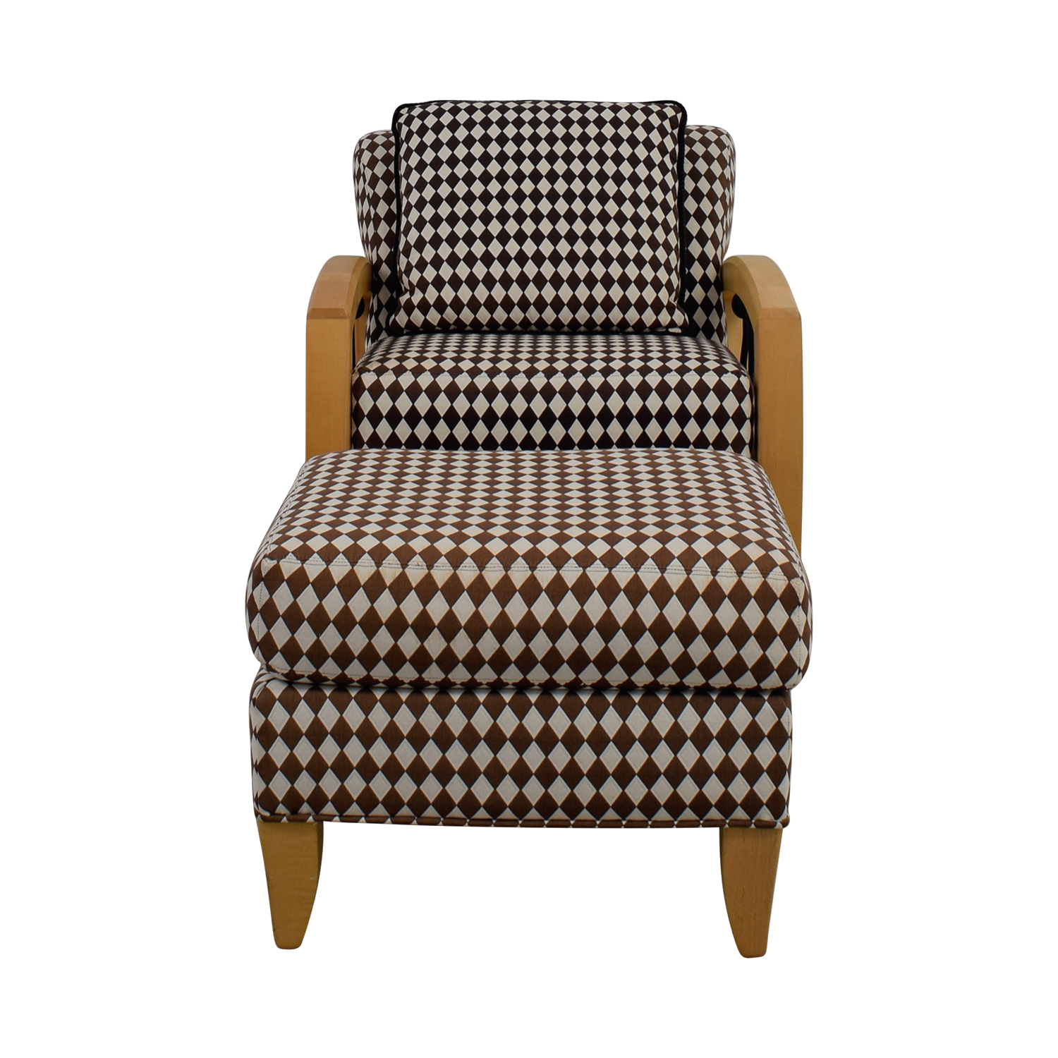 Thayer Coggin Thayer Coggin Cherry Wood Black and White Checkered Accent Chair with Ottoman brown/white