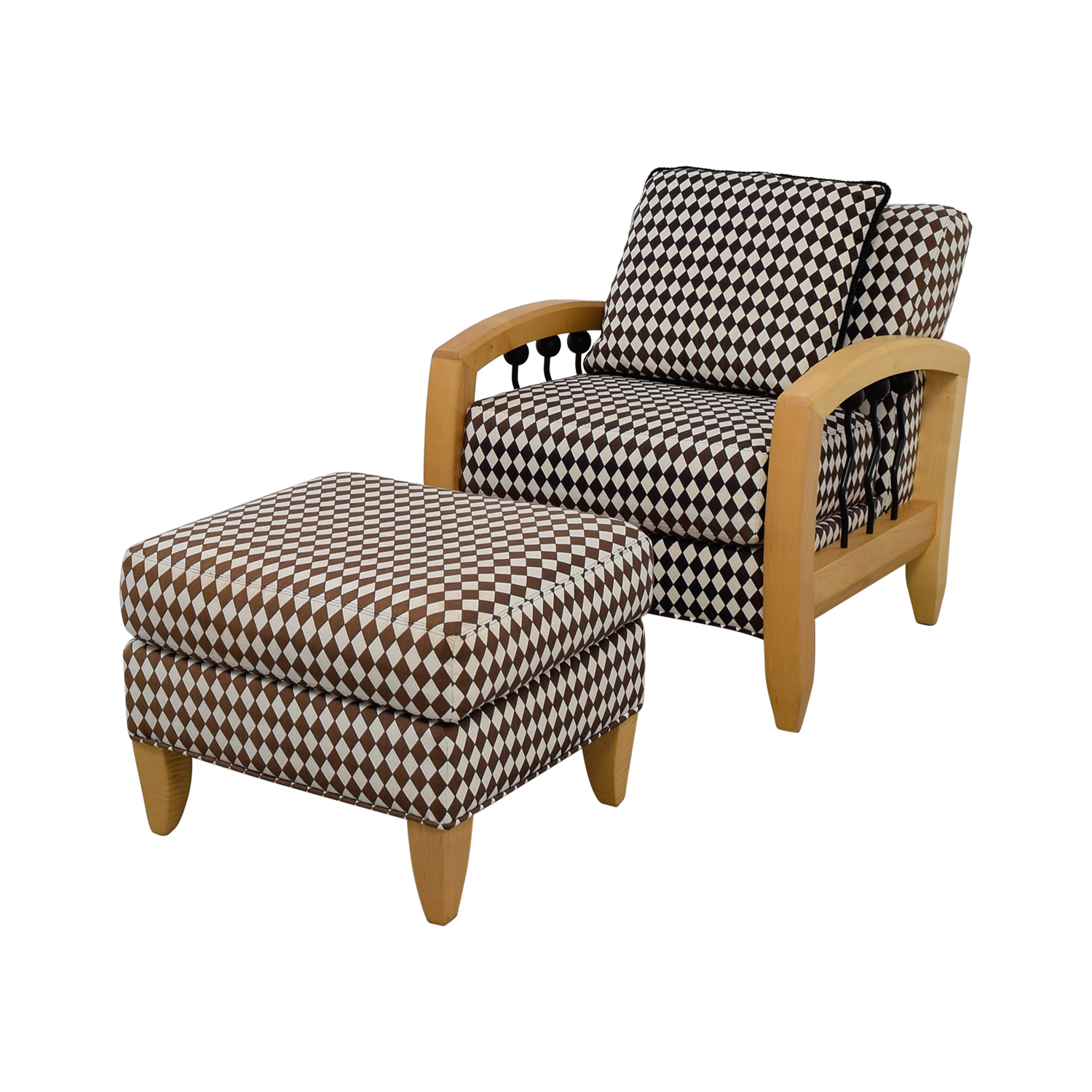 Superb 73 Off Thayer Coggin Thayer Coggin Cherry Wood Black And White Checkered Accent Chair With Ottoman Chairs Theyellowbook Wood Chair Design Ideas Theyellowbookinfo