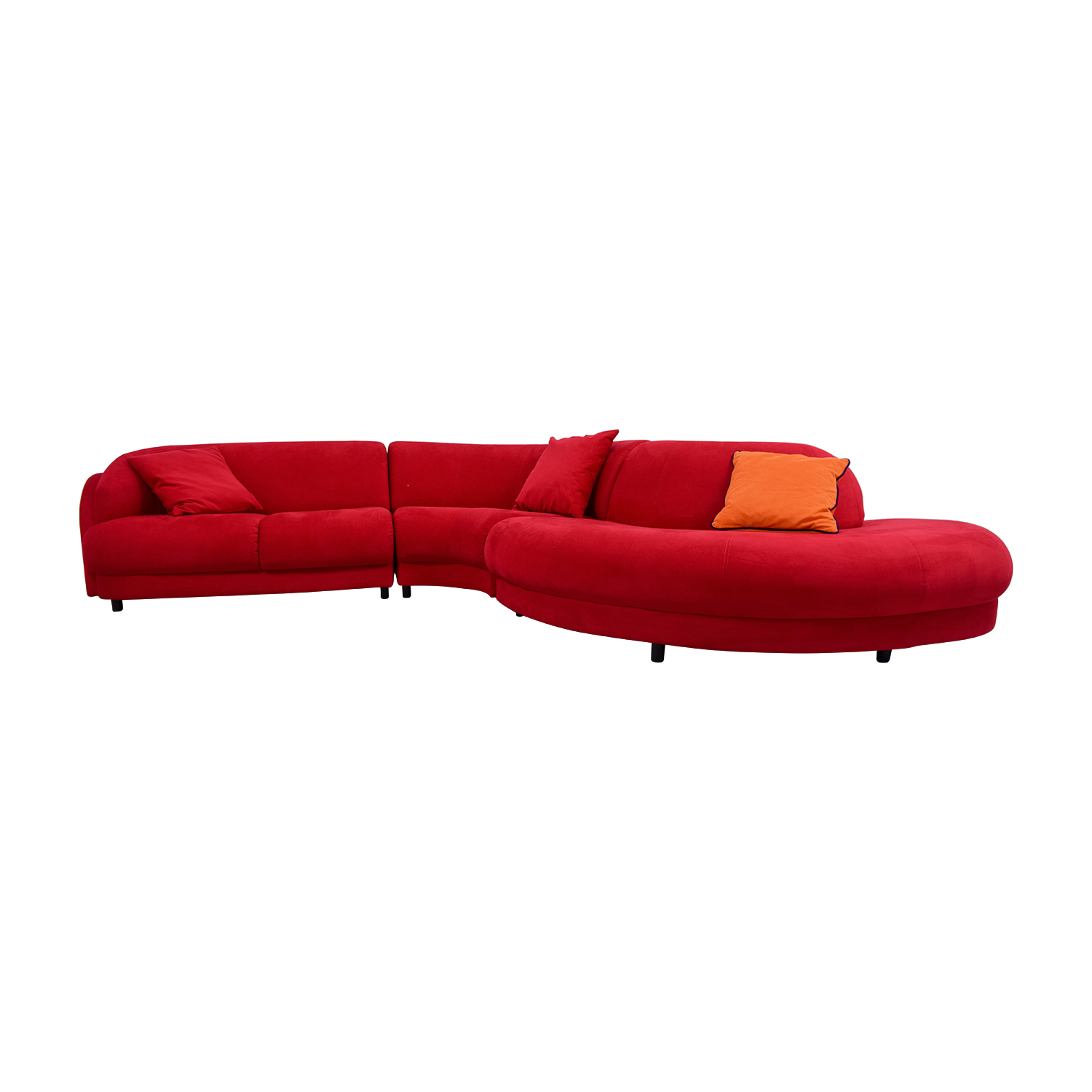 Bright Red Curved Sectional with Pillows nj