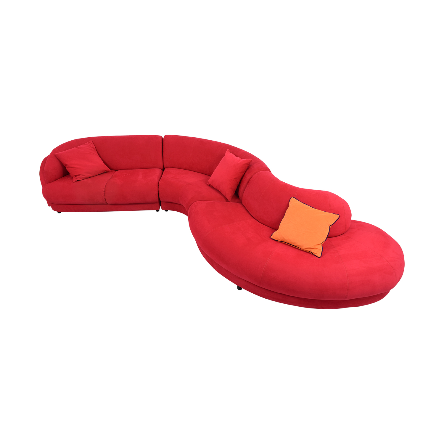 Bright Red Curved Sectional with Pillows nyc