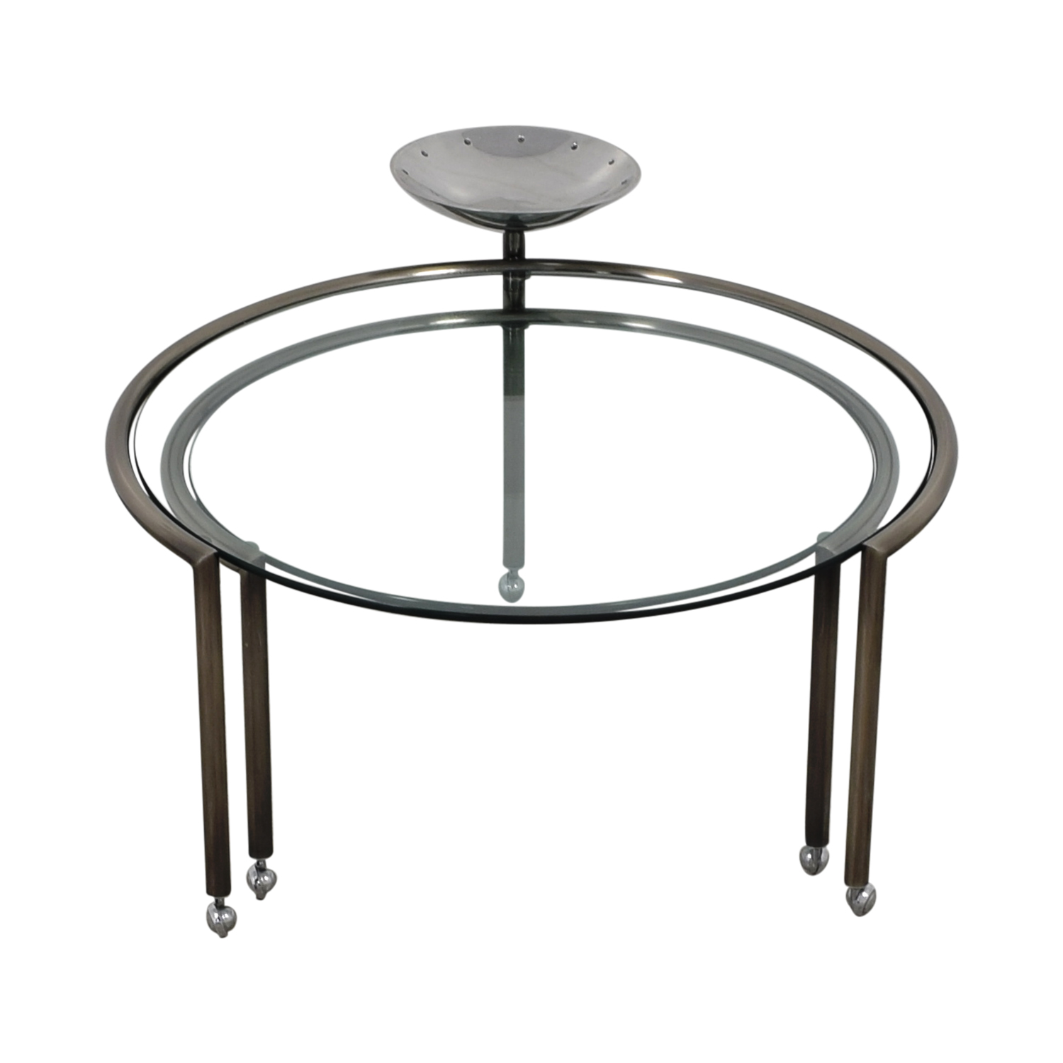 Round Glass Nesting Table with Dish dimensions
