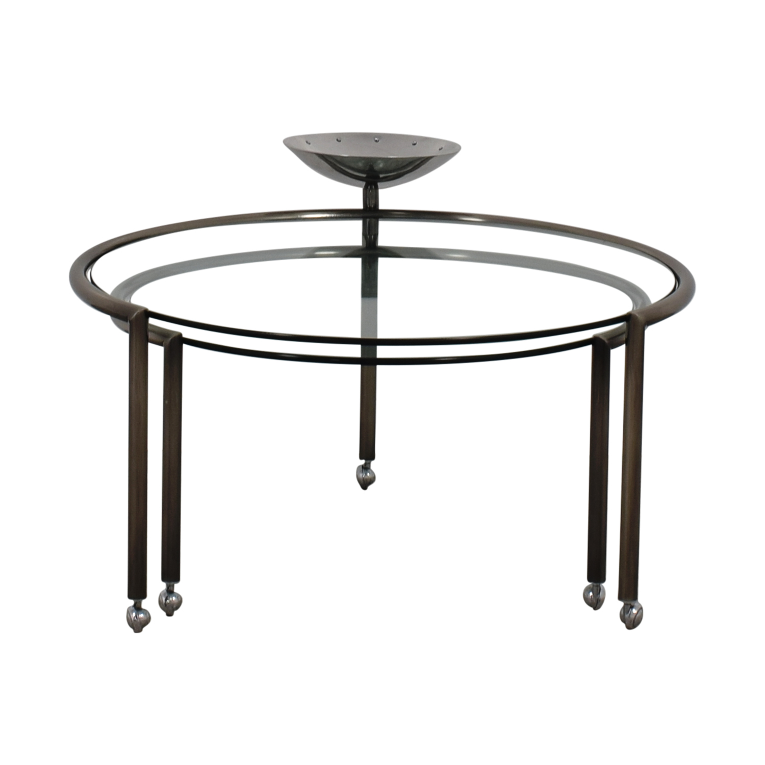 Round Glass Nesting Table With Dish