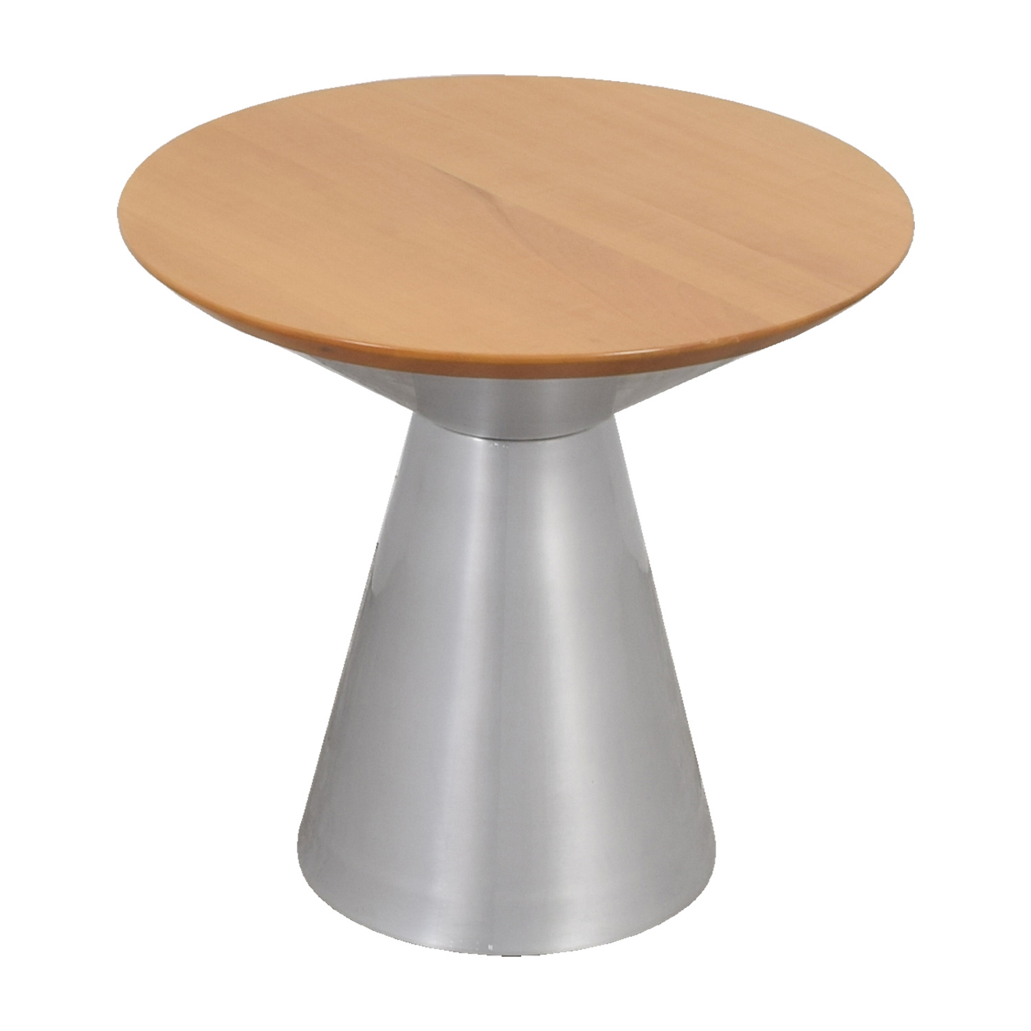 buy Circular Wood Top and Silver Base Table Tables