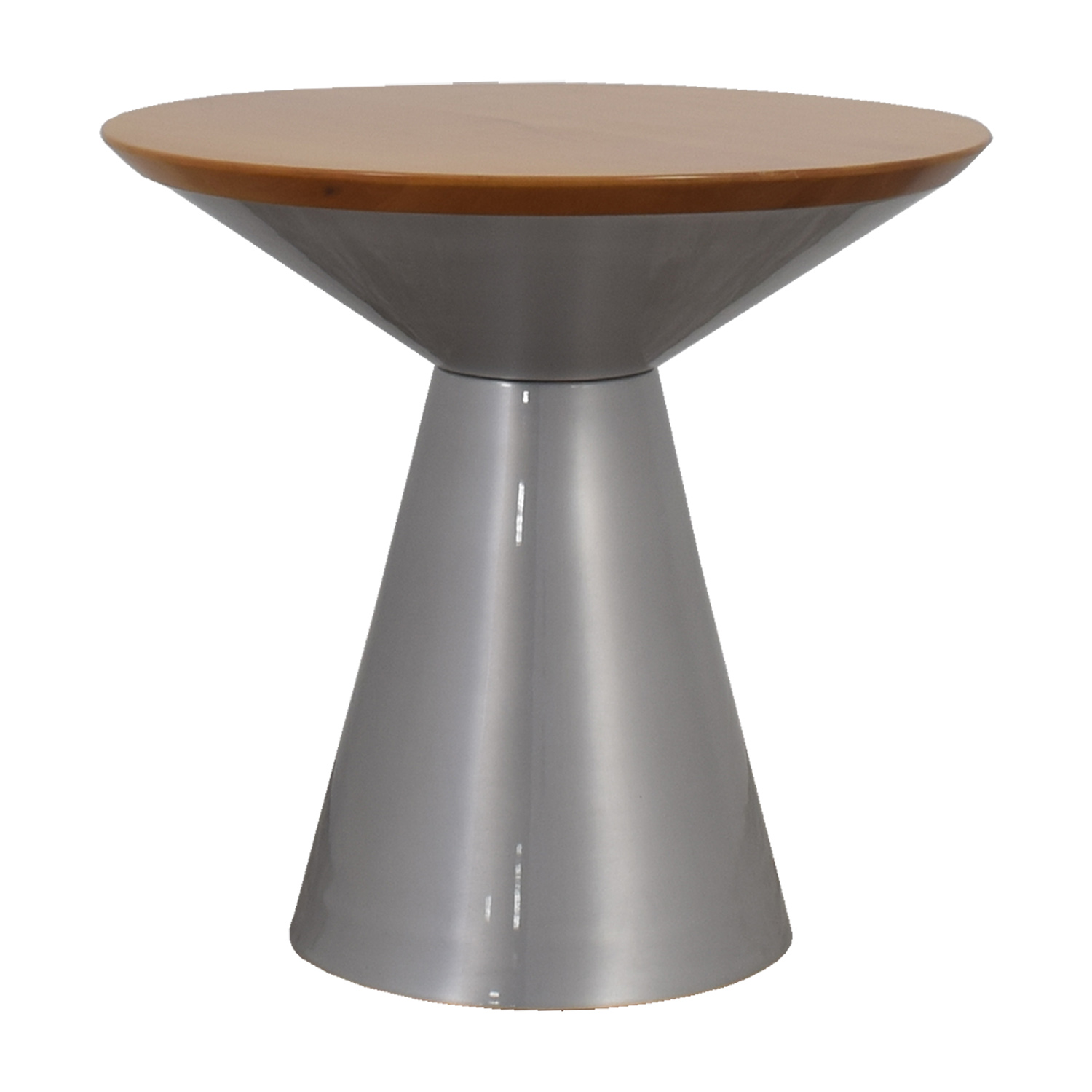 Circular Wood Top and Silver Base Table / Tables