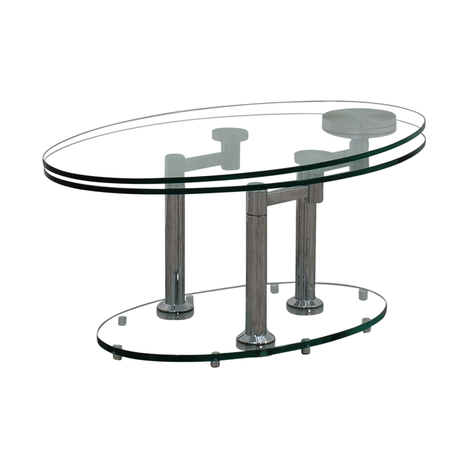 buy  Art Deco Movable Oval Glass & Metal Coffee Table online