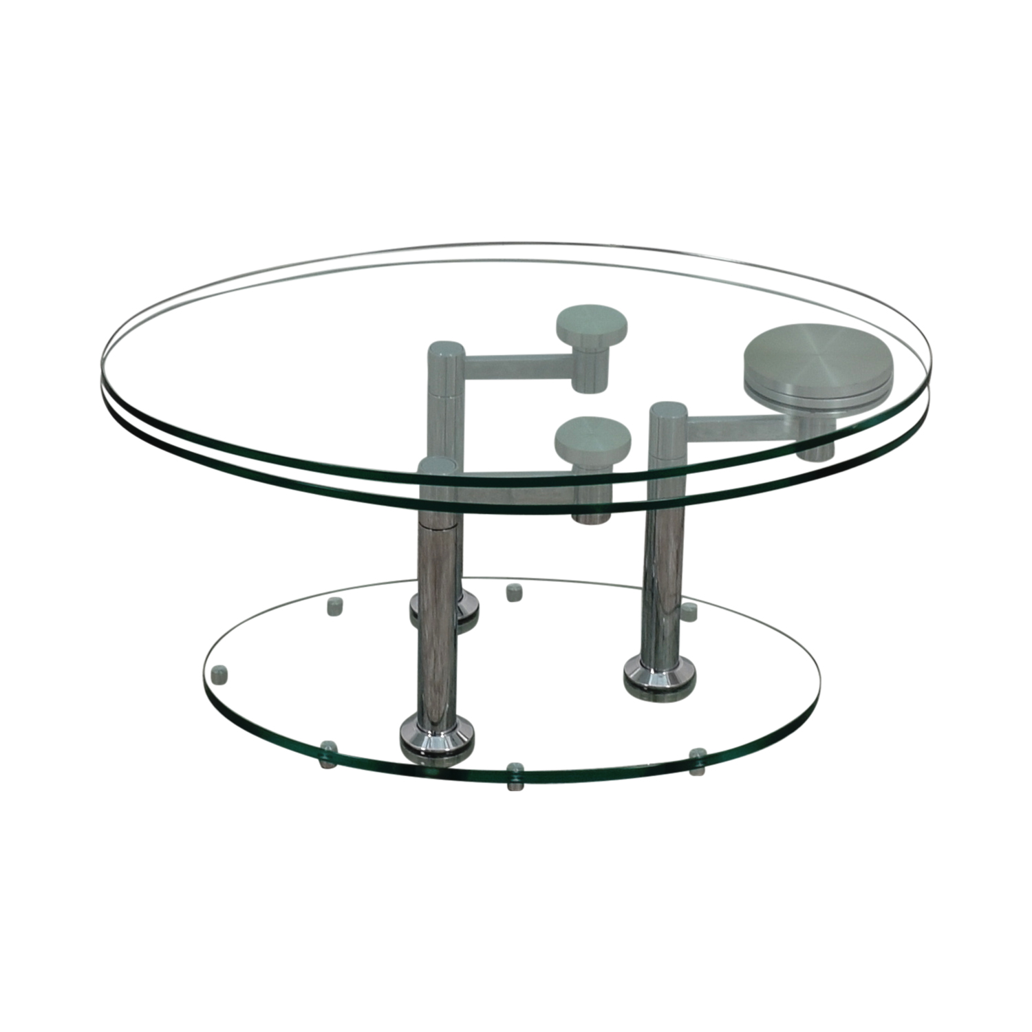 Art Deco Movable Oval Glass & Metal Coffee Table nyc