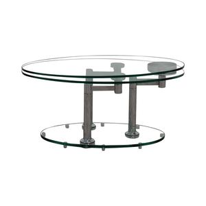 Art Deco Movable Oval Glass & Metal Coffee Table coupon
