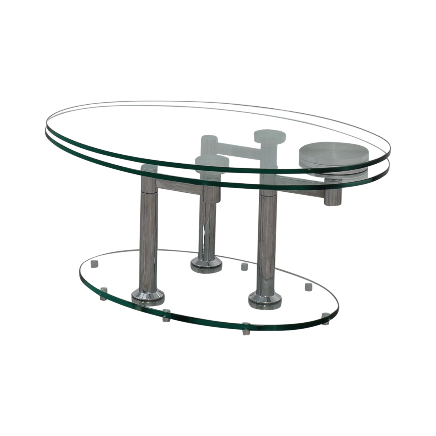 Art Deco Movable Oval Glass & Metal Coffee Table price