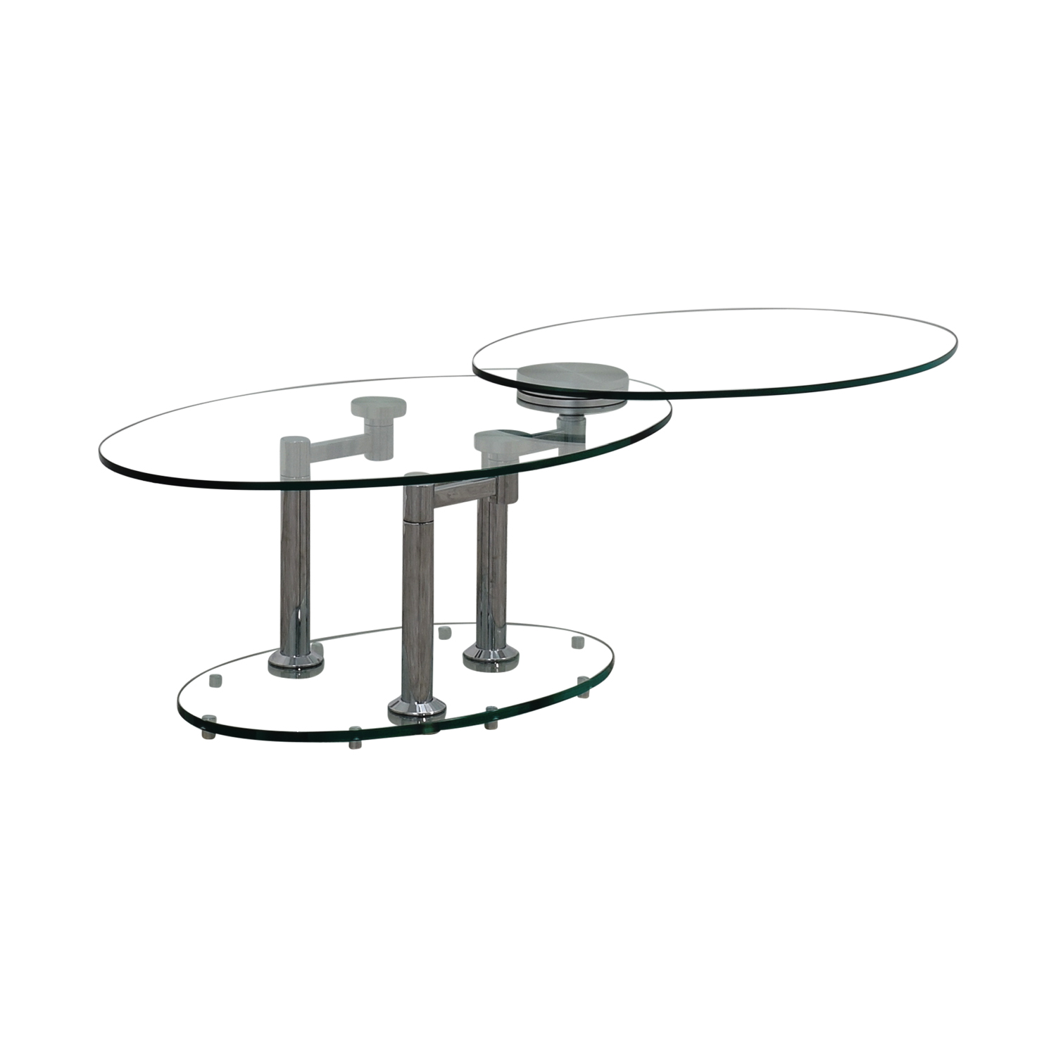 Art Deco Movable Oval Glass & Metal Coffee Table for sale