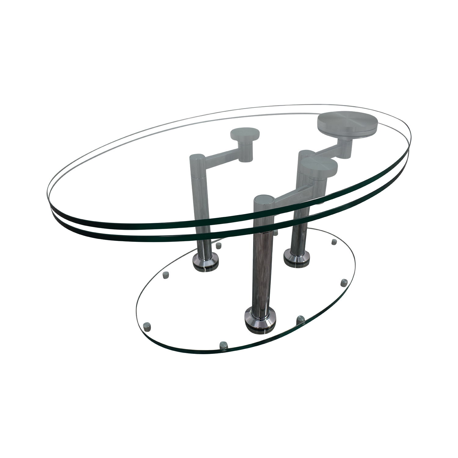 Art Deco Movable Oval Glass & Metal Coffee Table coupon