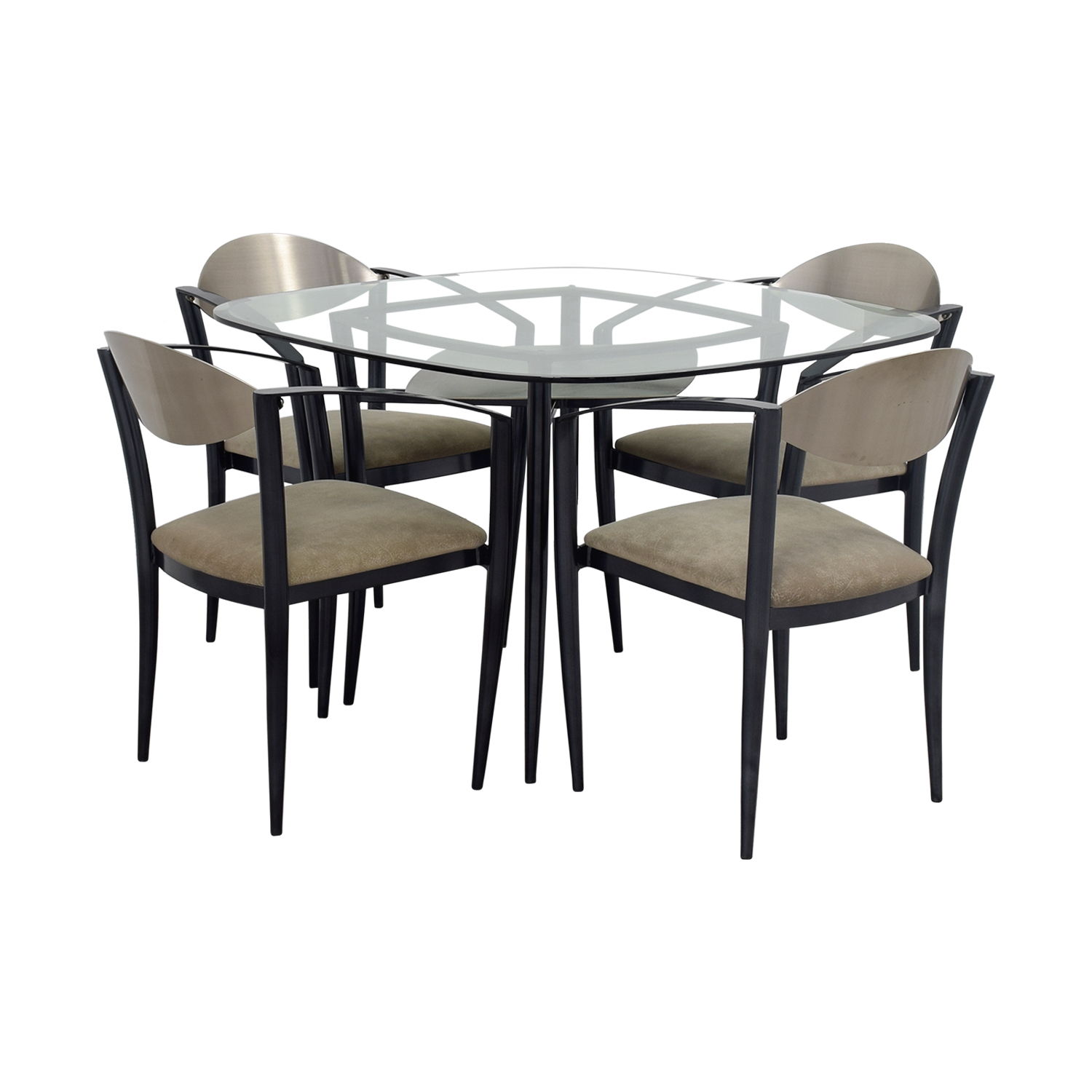 Glass Dining Table with Metal & Beige Chairs nyc
