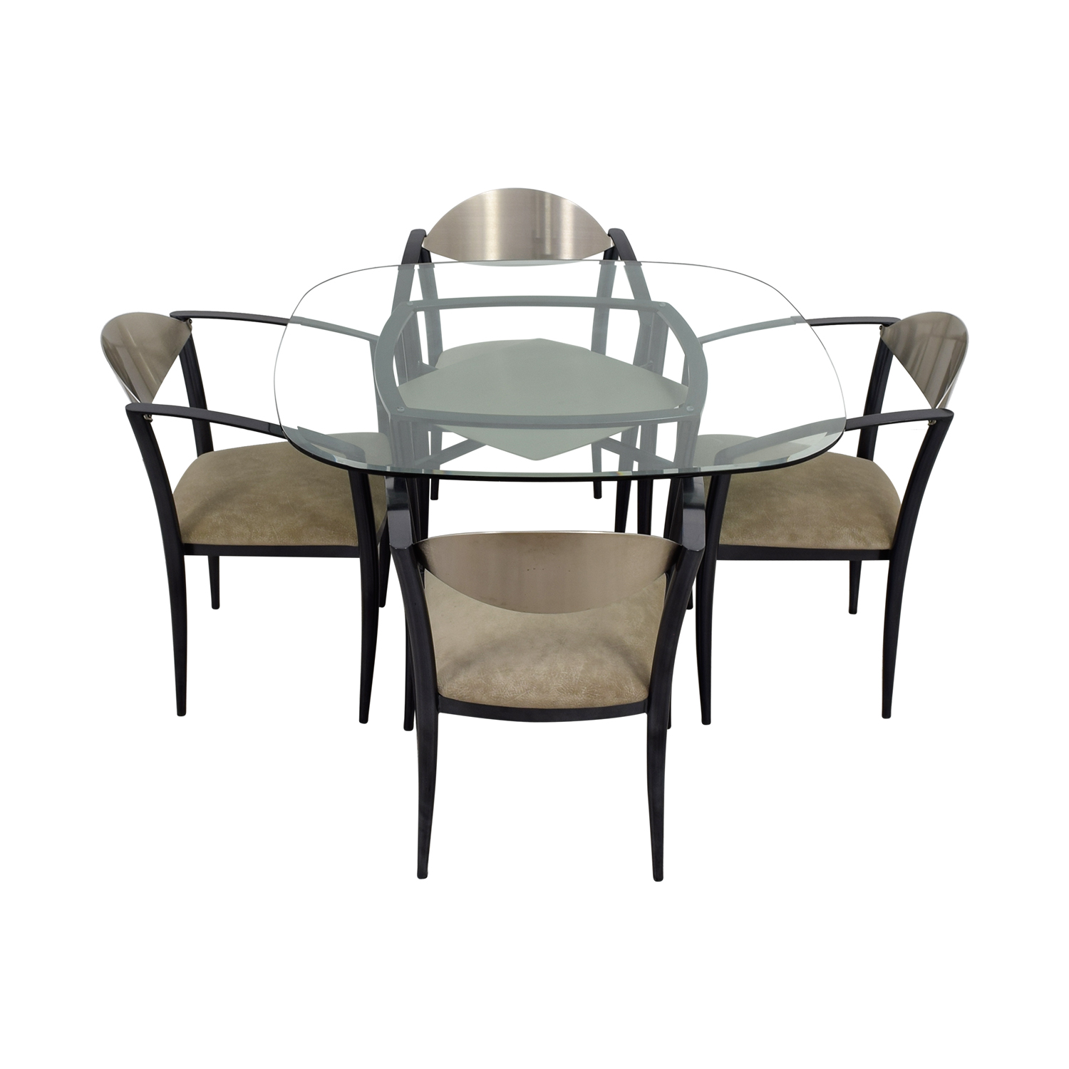 Glass Dining Table with Metal & Beige Chairs