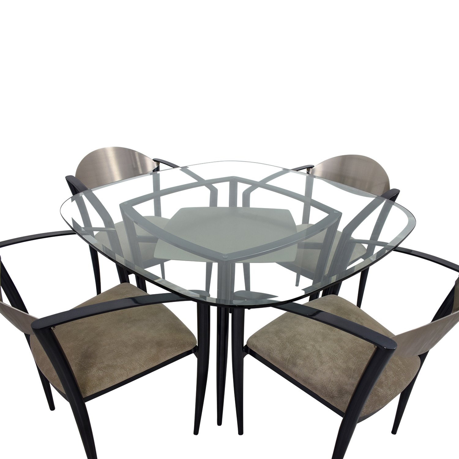 Secondhand Chairs And Tables: Glass Dining Table With Metal And Beige Chairs