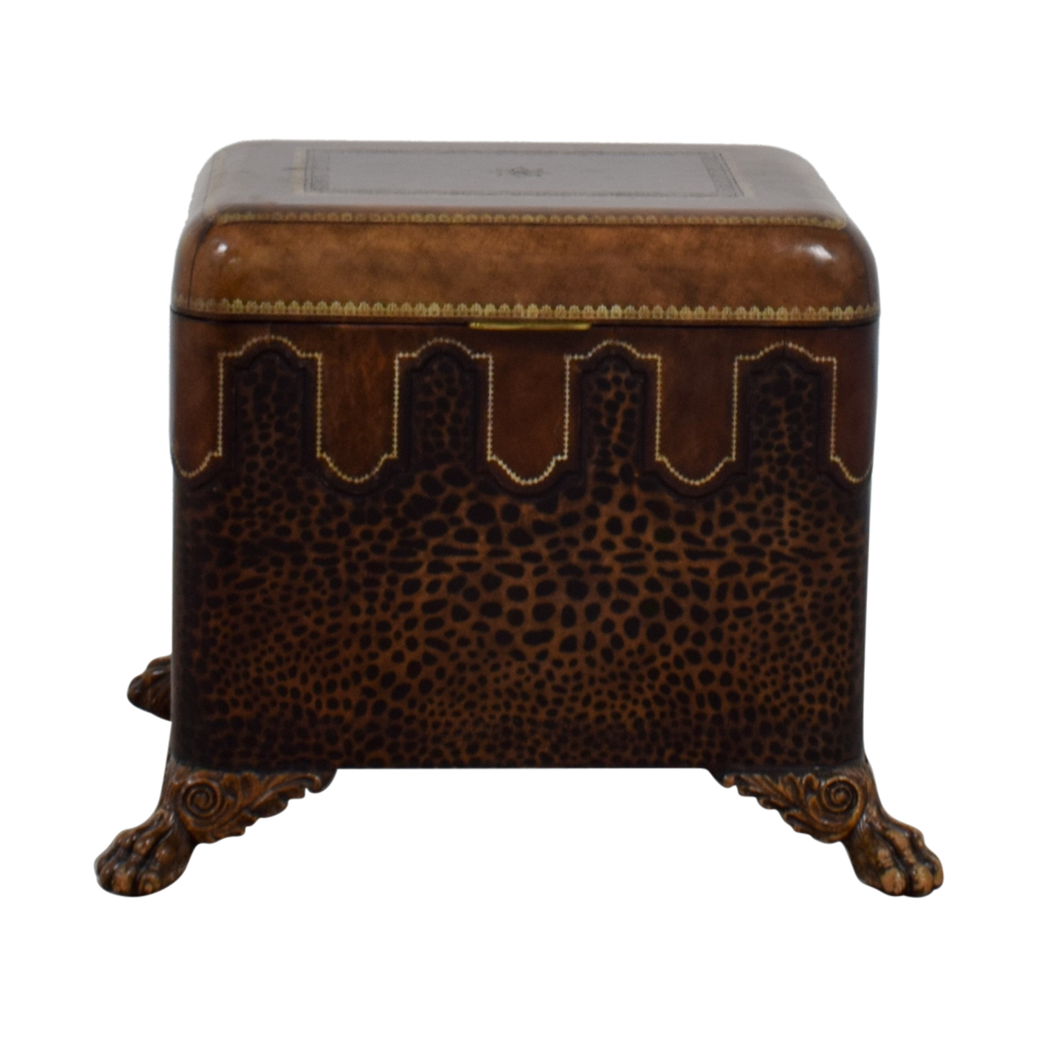 86% OFF   Maitland Smith Maitland Smith Embossed Leather Chest Side Table /  Tables