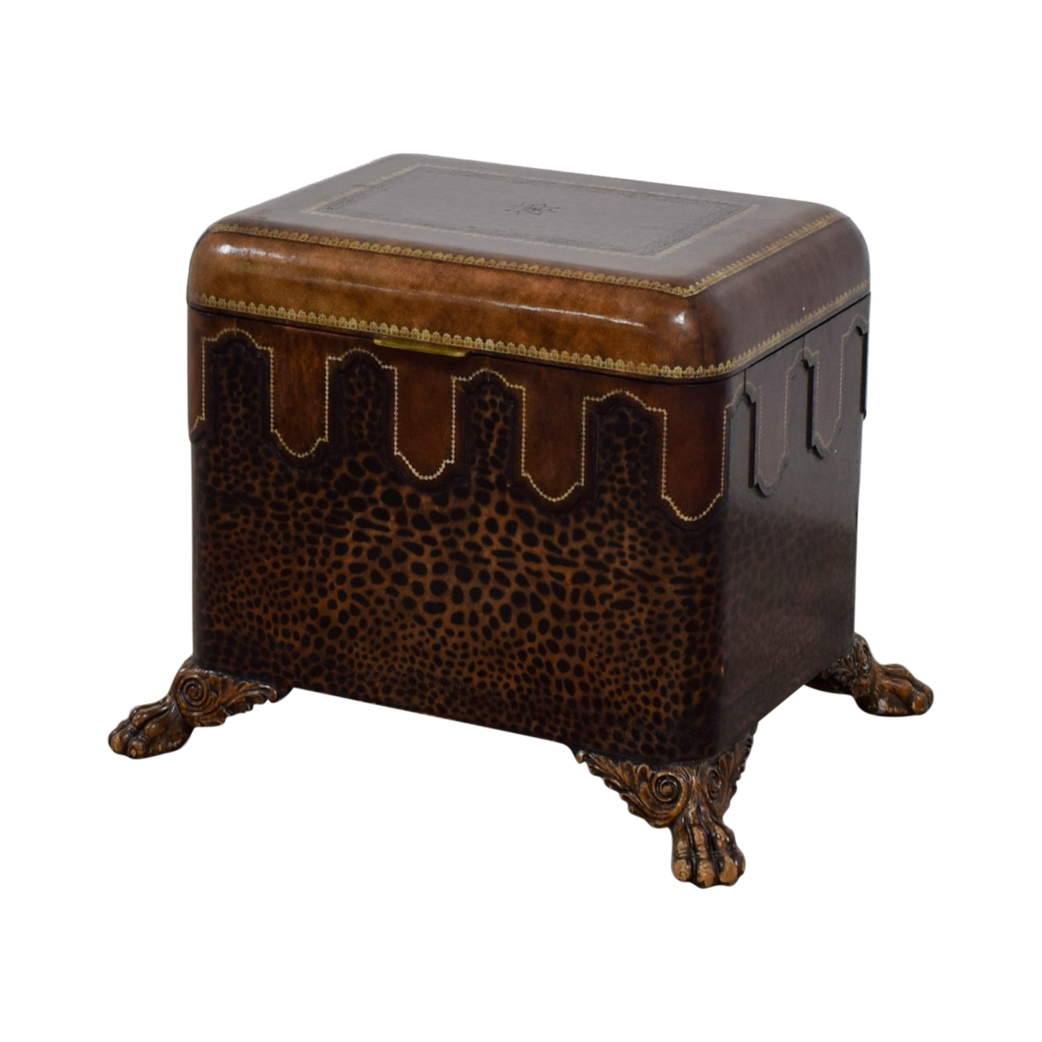 ... Maitland Smith Maitland Smith Embossed Leather Chest Side Table Used ...