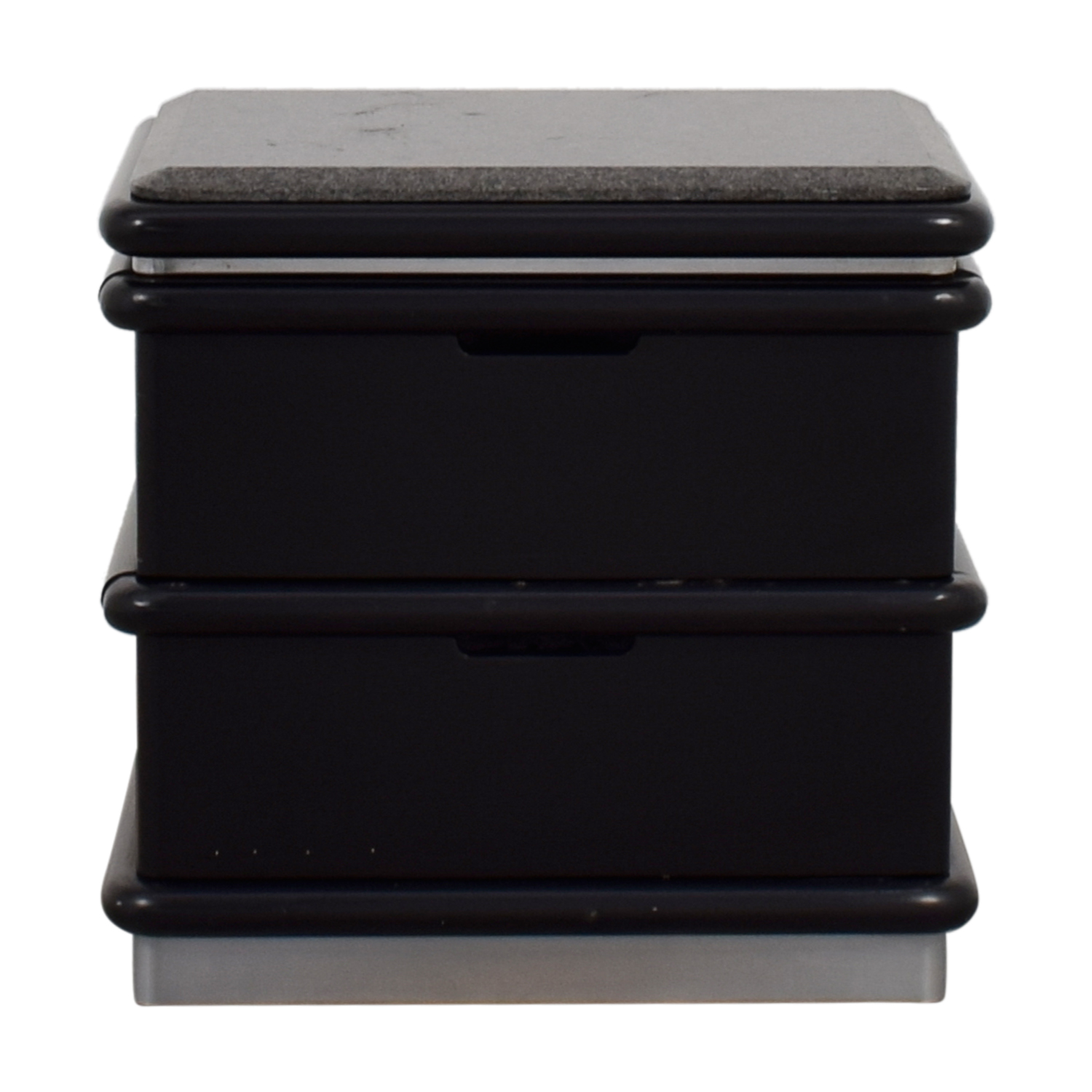 Century Century Black and Grey Granite Top Two-Drawer End Table nj
