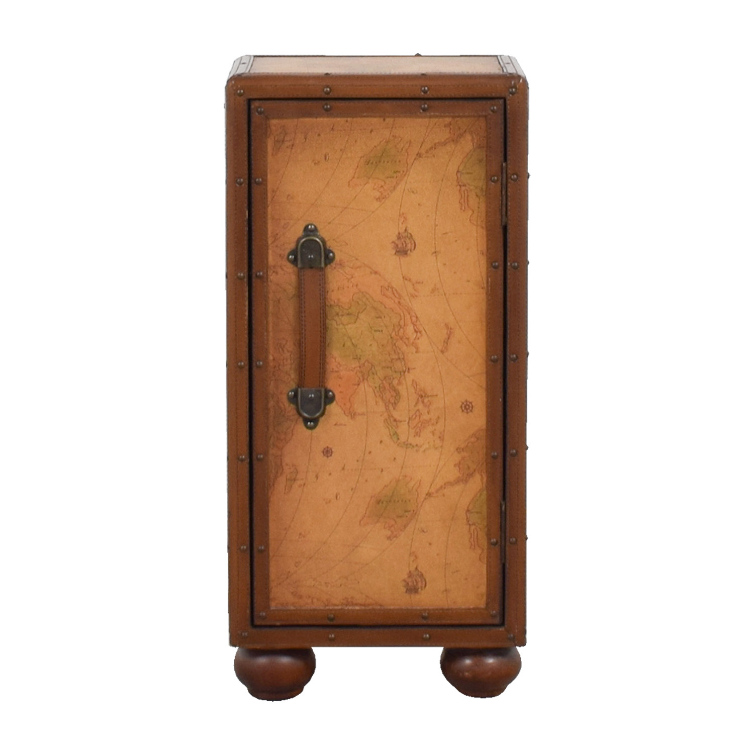 Antique Leather Map Decorated Cabinet discount
