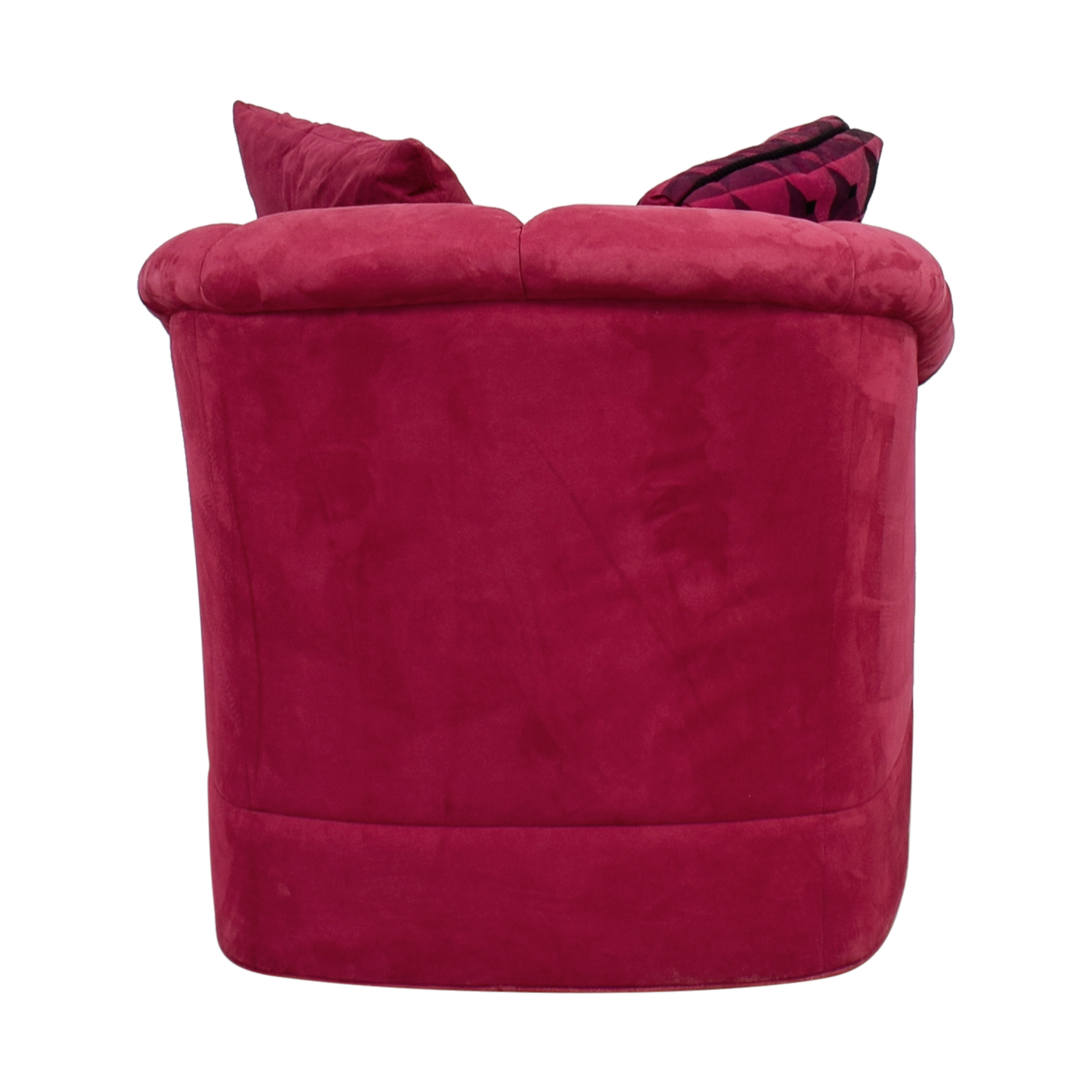 Magenta Curved Arm Accent Chair with Pillows pink