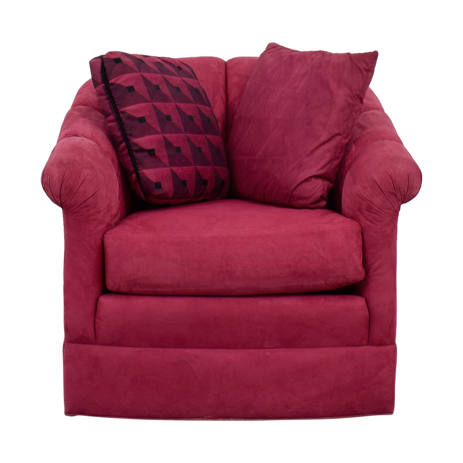 Magenta Curved Arm Accent Chair with Pillows / Chairs