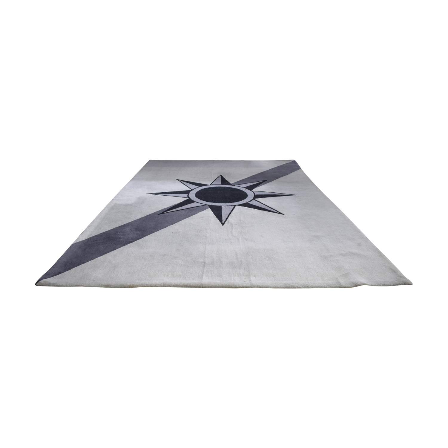 New Zealand Wool Grey and Black Star Rug