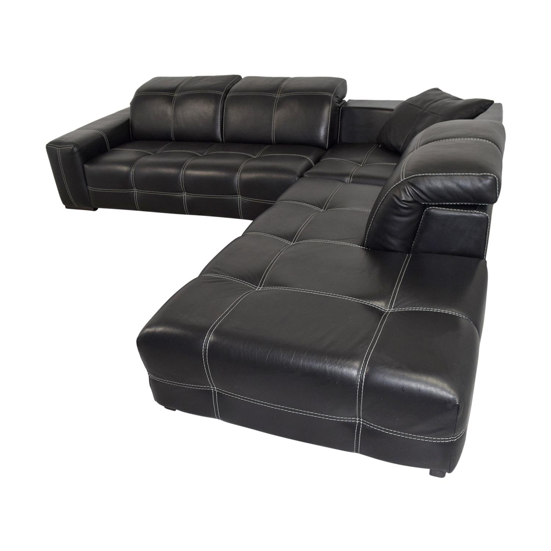 85% OFF - Natuzzi Natuzzi Black Italian Leather L-Shaped Sectional / Sofas