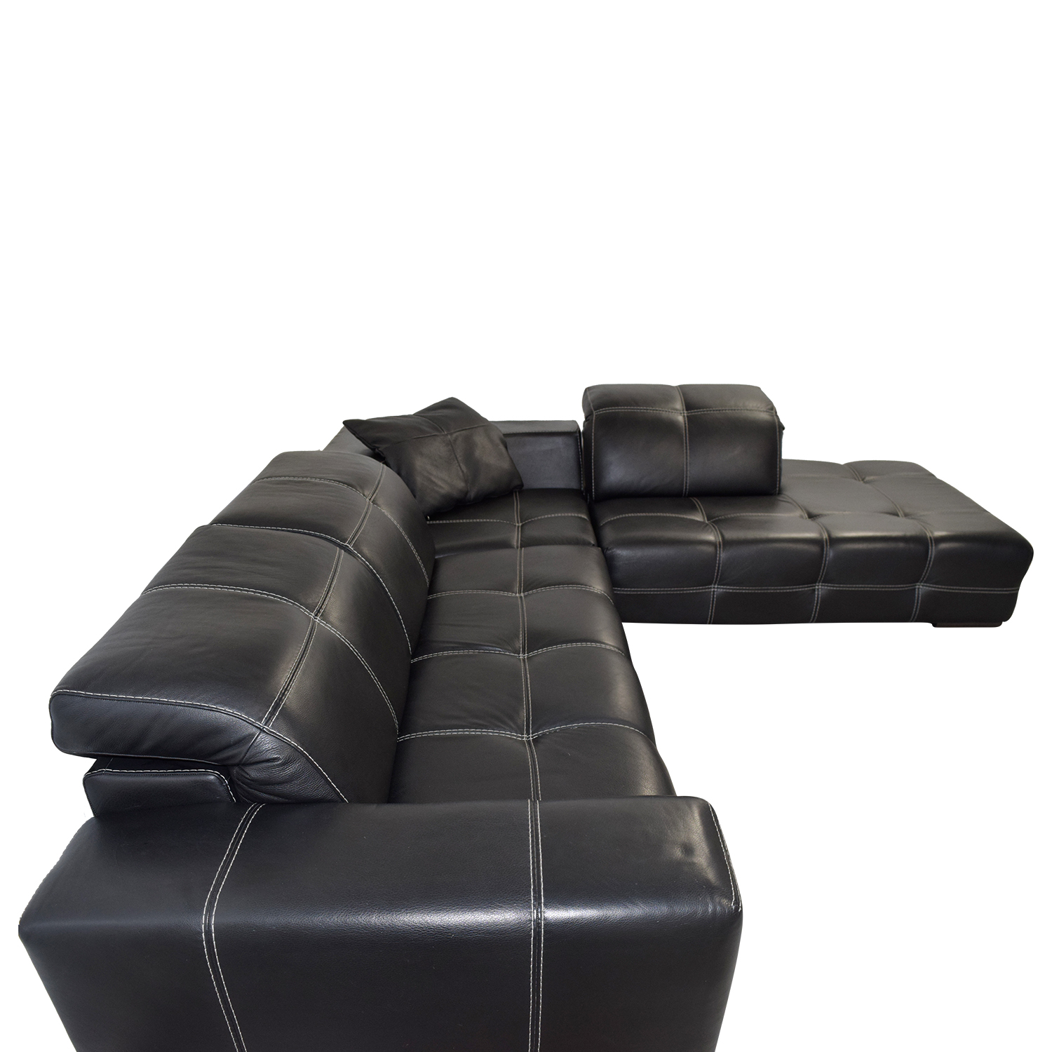 85% OFF - Natuzzi Natuzzi Black Italian Leather L-Shaped Sectional / Sofas